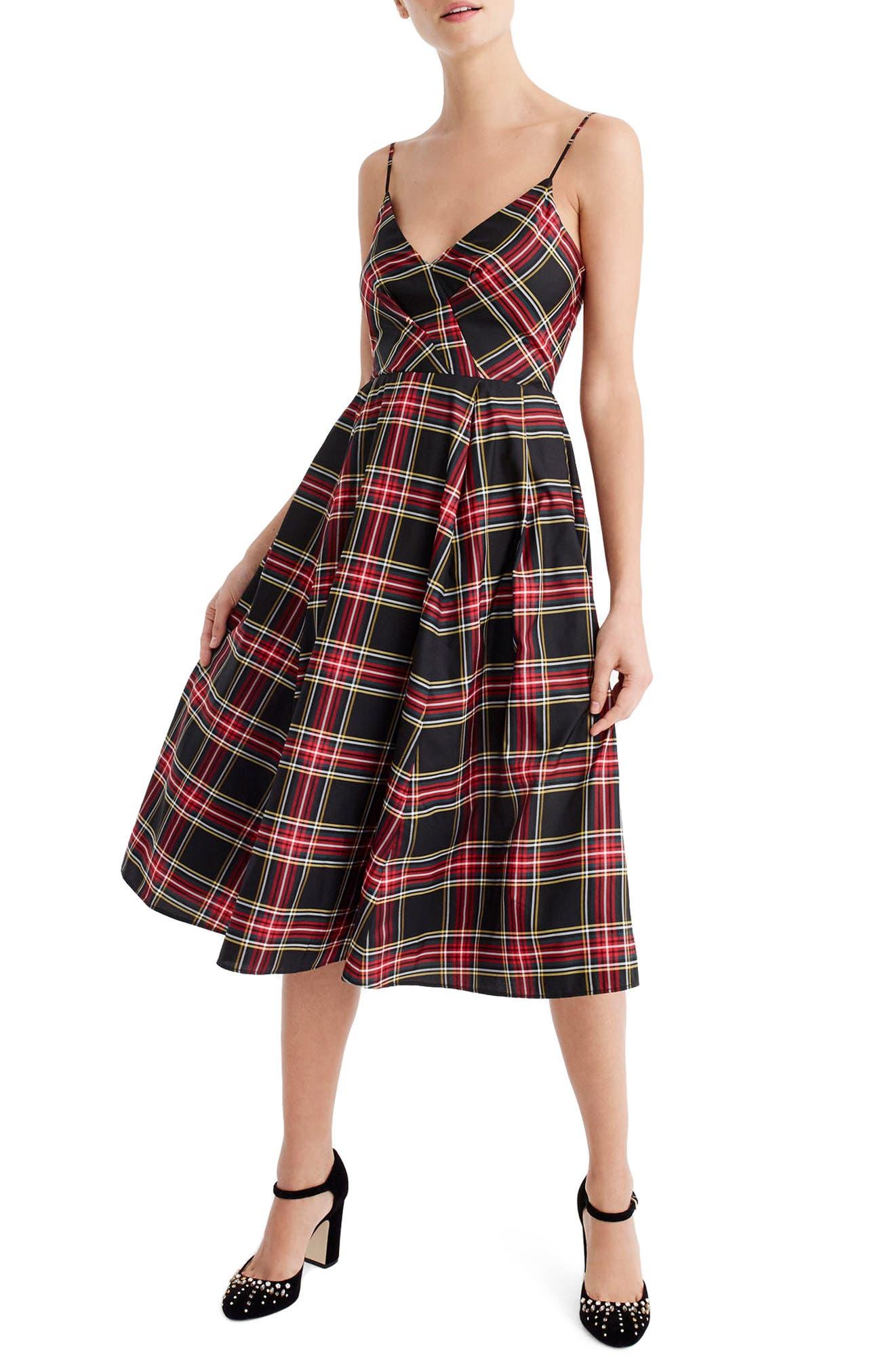 Spaghetti Strap Stewart Plaid A-Line Dress, Main, color, 600
