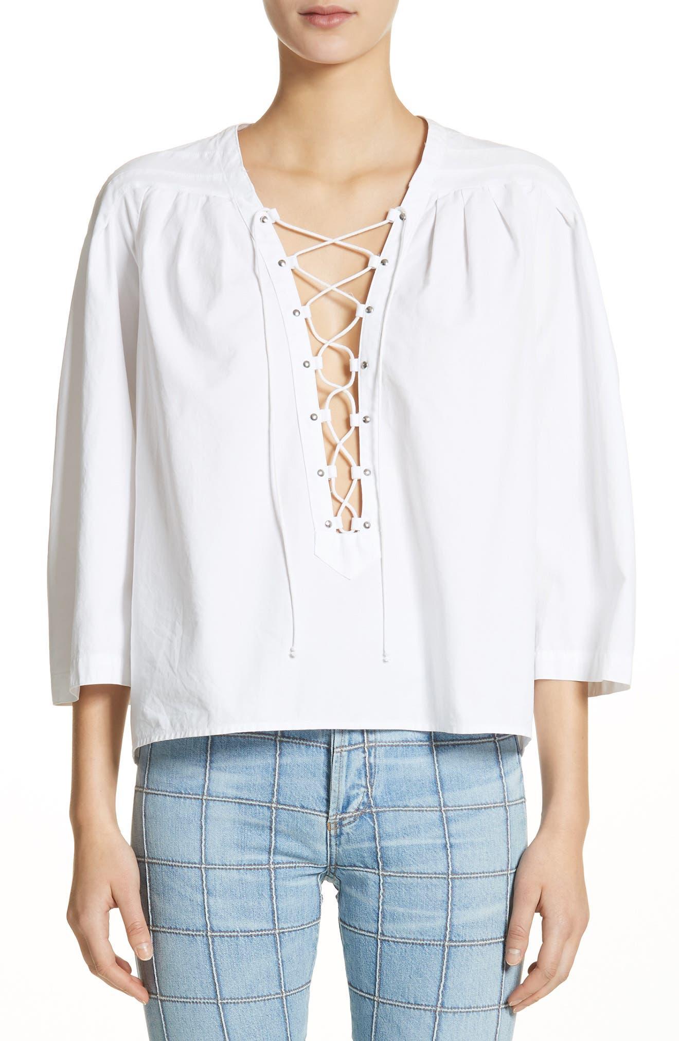 Ilona Lace-Up Cotton Top,                         Main,                         color, 100
