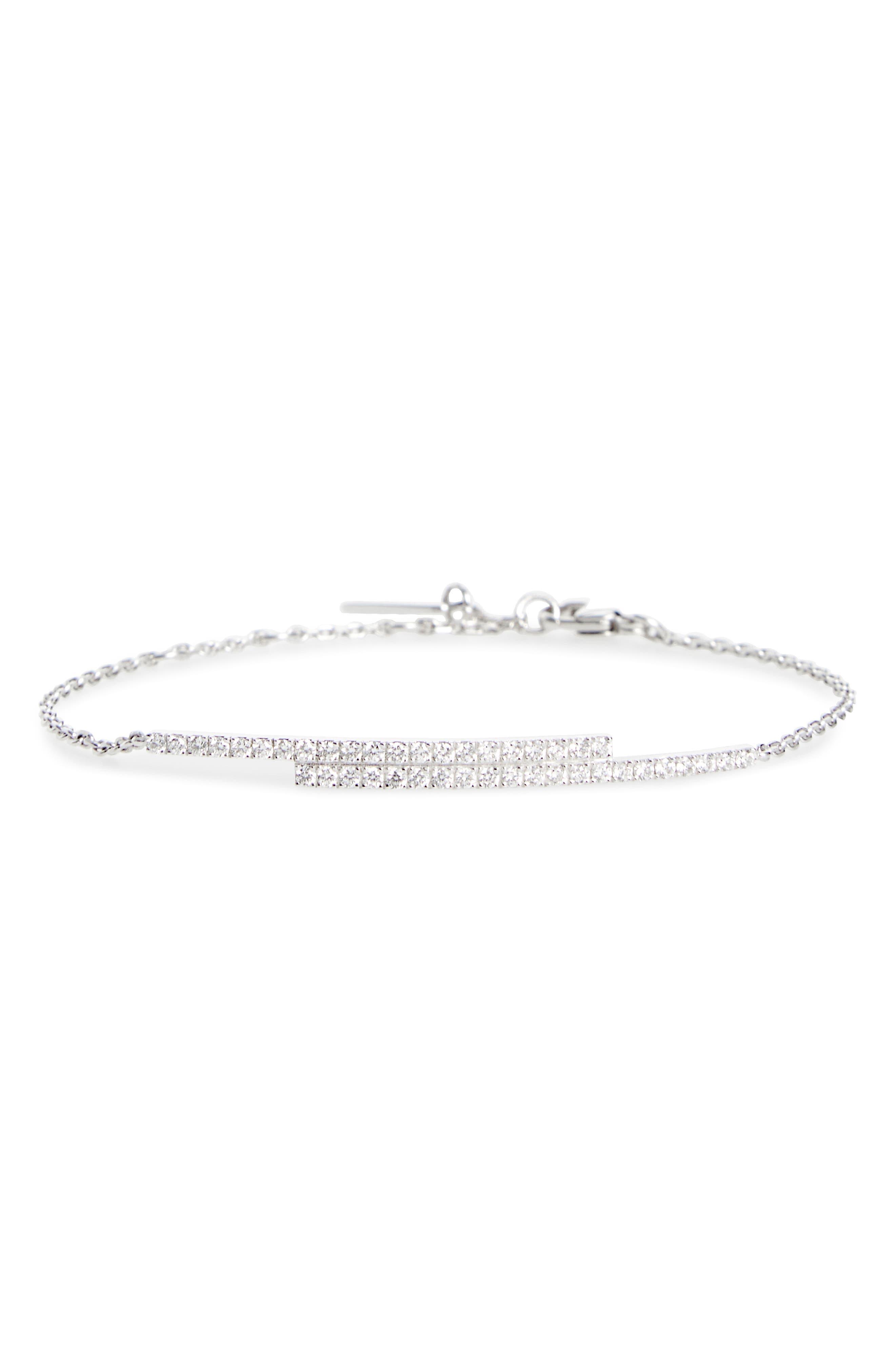 Double Bar Diamond Line Bracelet,                             Main thumbnail 1, color,                             WHITE GOLD