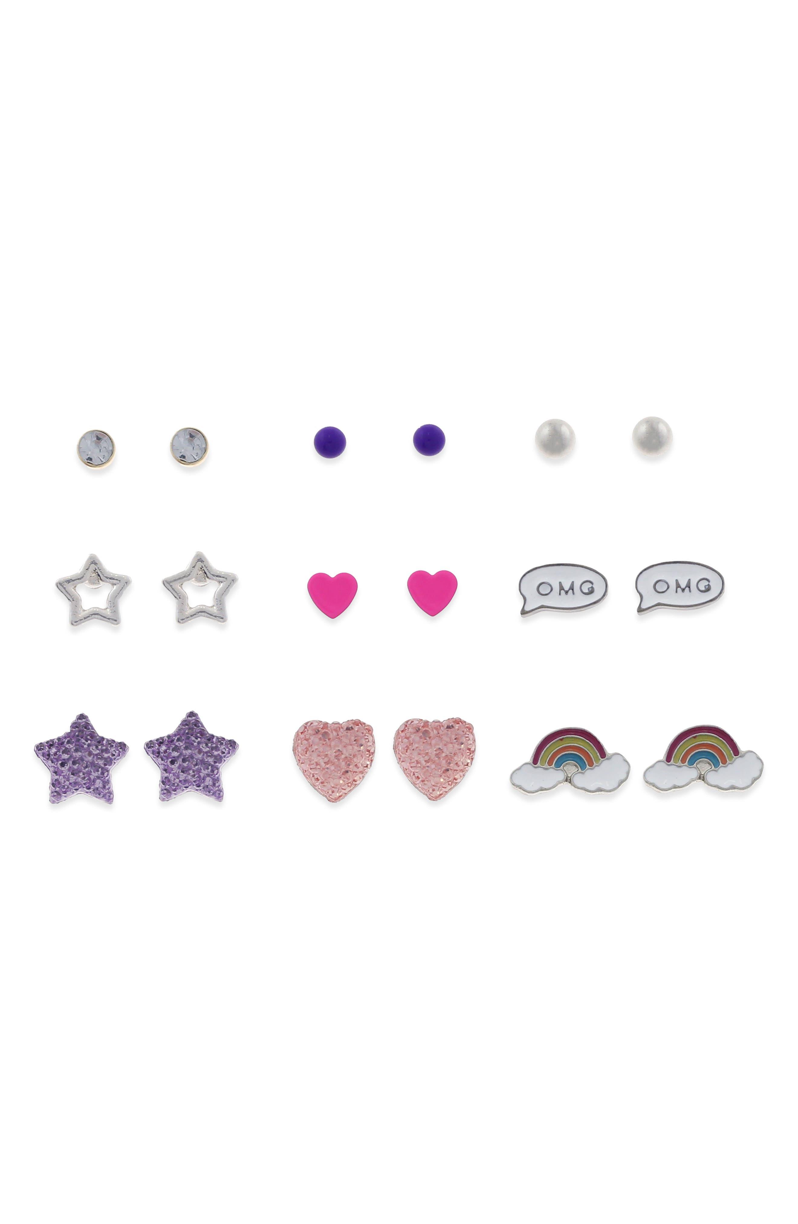 9-Pack Stud Earrings,                             Main thumbnail 1, color,                             501