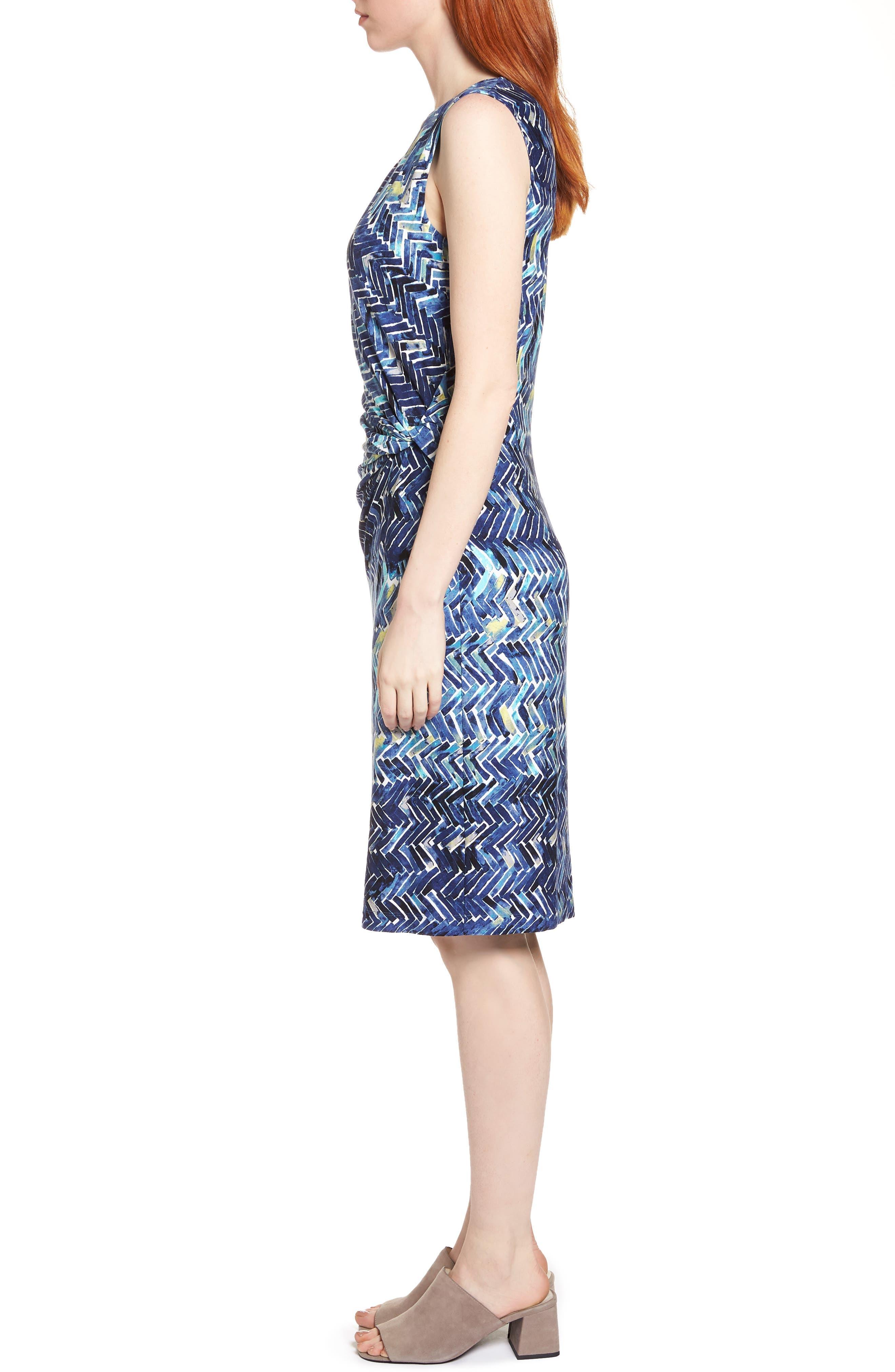 Seaside Tile Ruched Sheath Dress,                             Alternate thumbnail 3, color,