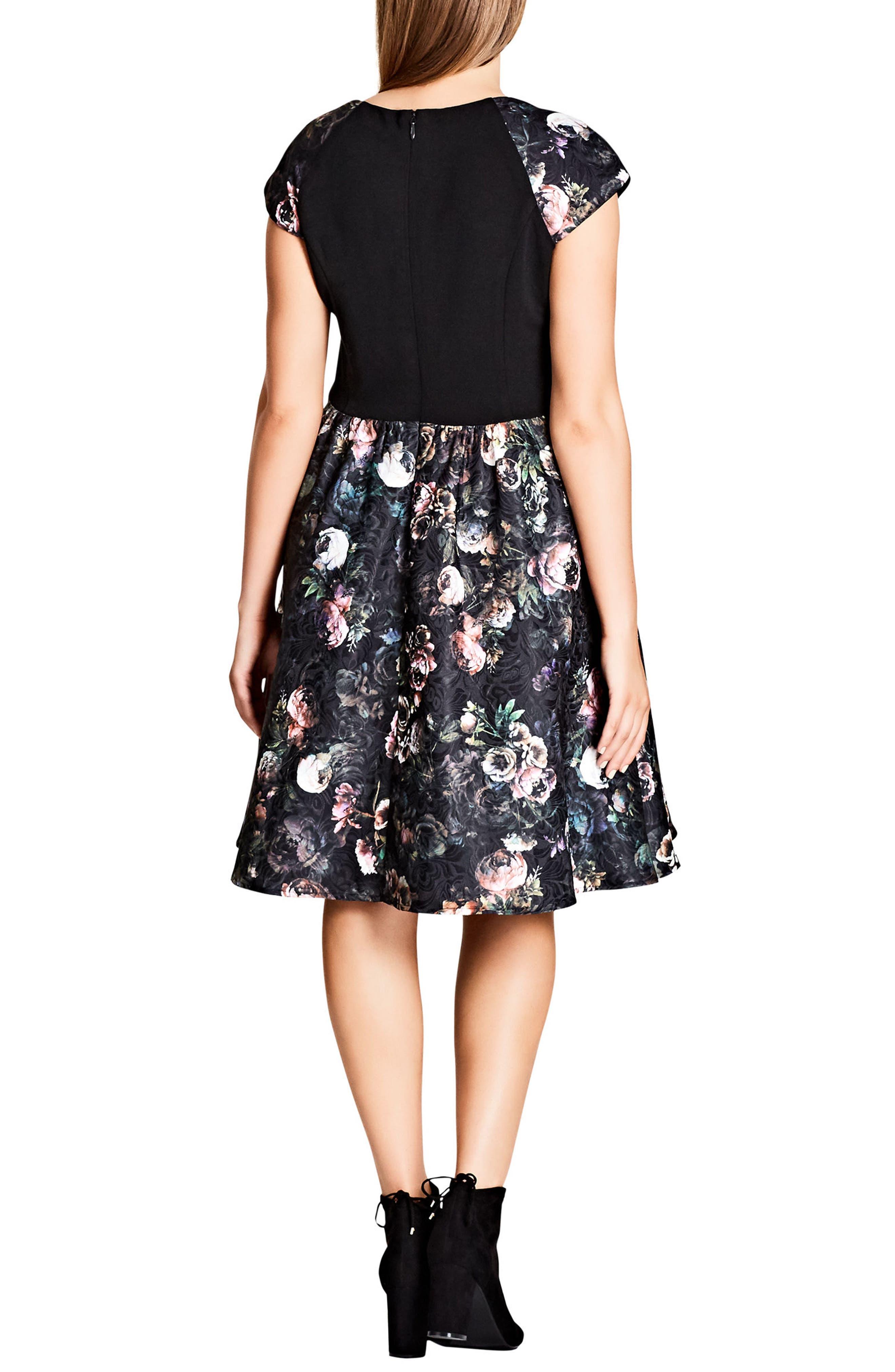 Vintage Peony Fit & Flare Dress,                             Alternate thumbnail 2, color,                             VINTAGE PEONY