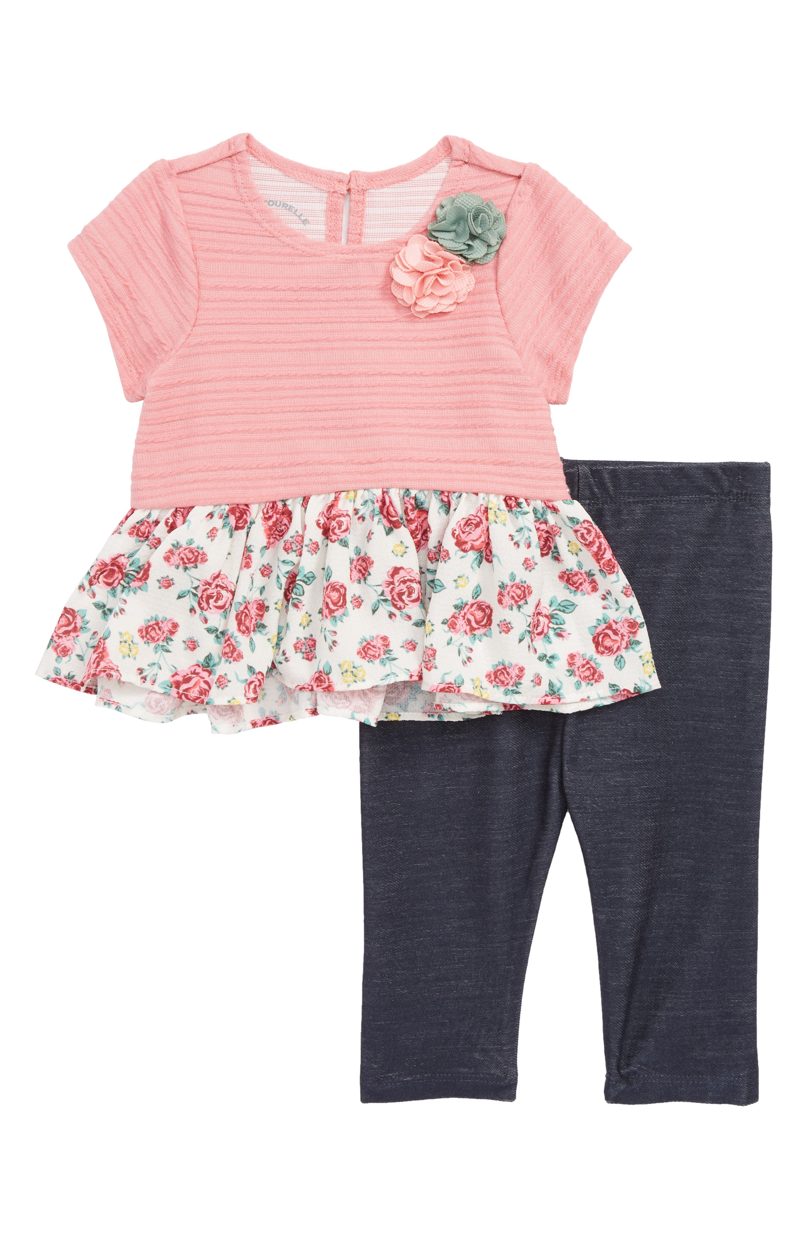 Floral Peplum Dress & Leggings Set,                             Main thumbnail 1, color,                             650