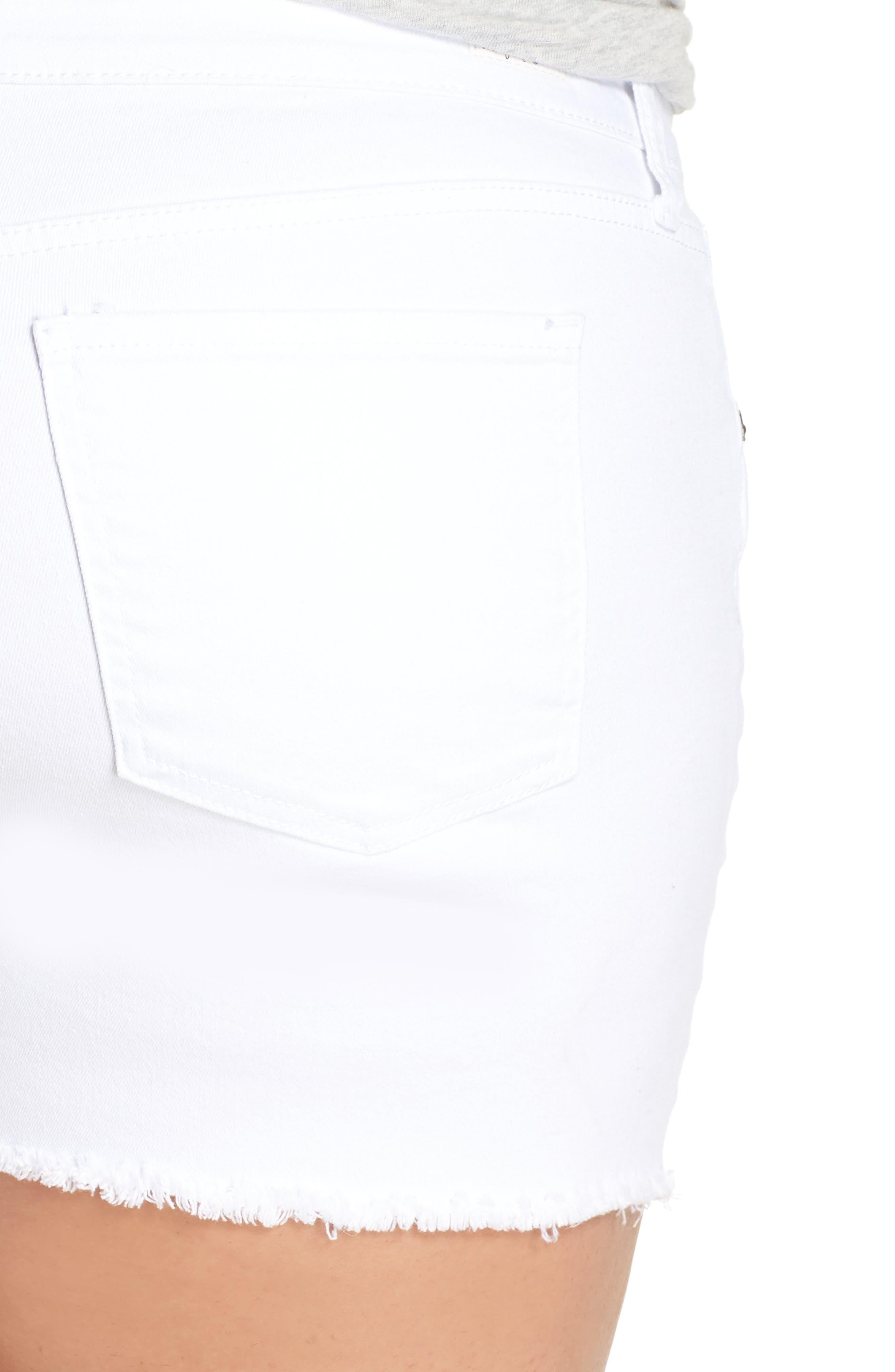 Gidget Raw Hem Shorts,                             Alternate thumbnail 6, color,                             OPTIC WHITE