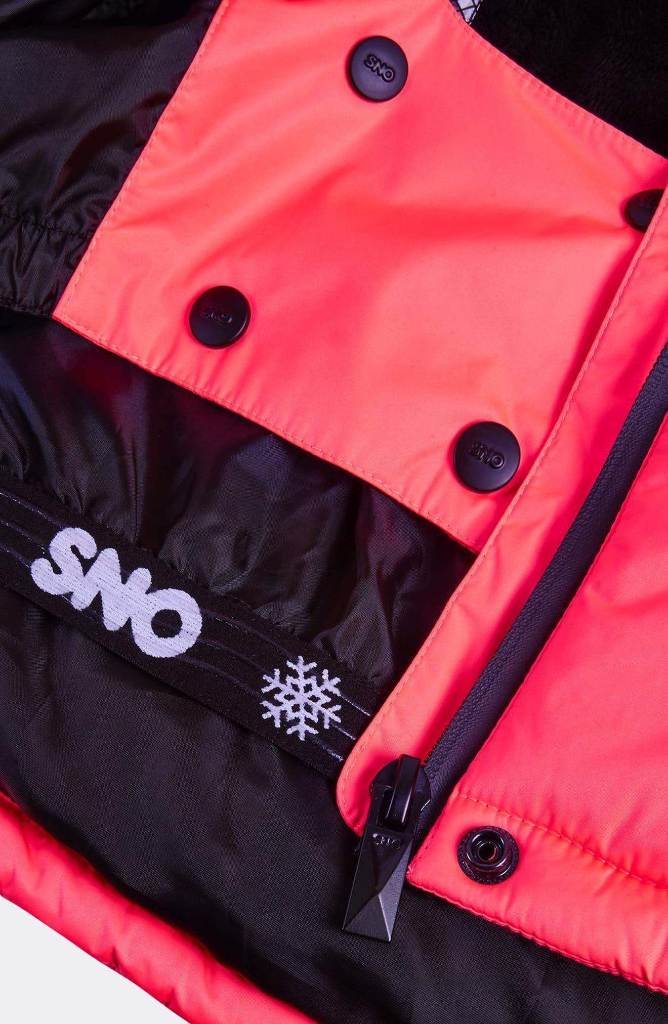 SNO Rio Faux Fur Hood Neon Puffer Jacket,                             Alternate thumbnail 6, color,                             650