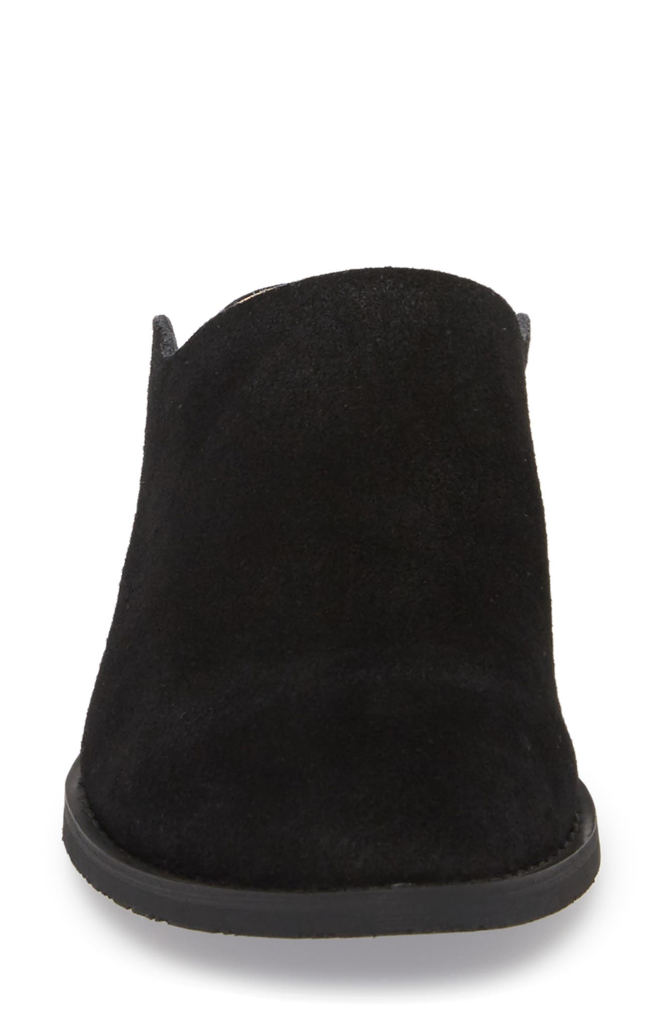 Salem Contoured Mule,                             Alternate thumbnail 4, color,                             BLACK SUEDE/ LEATHER
