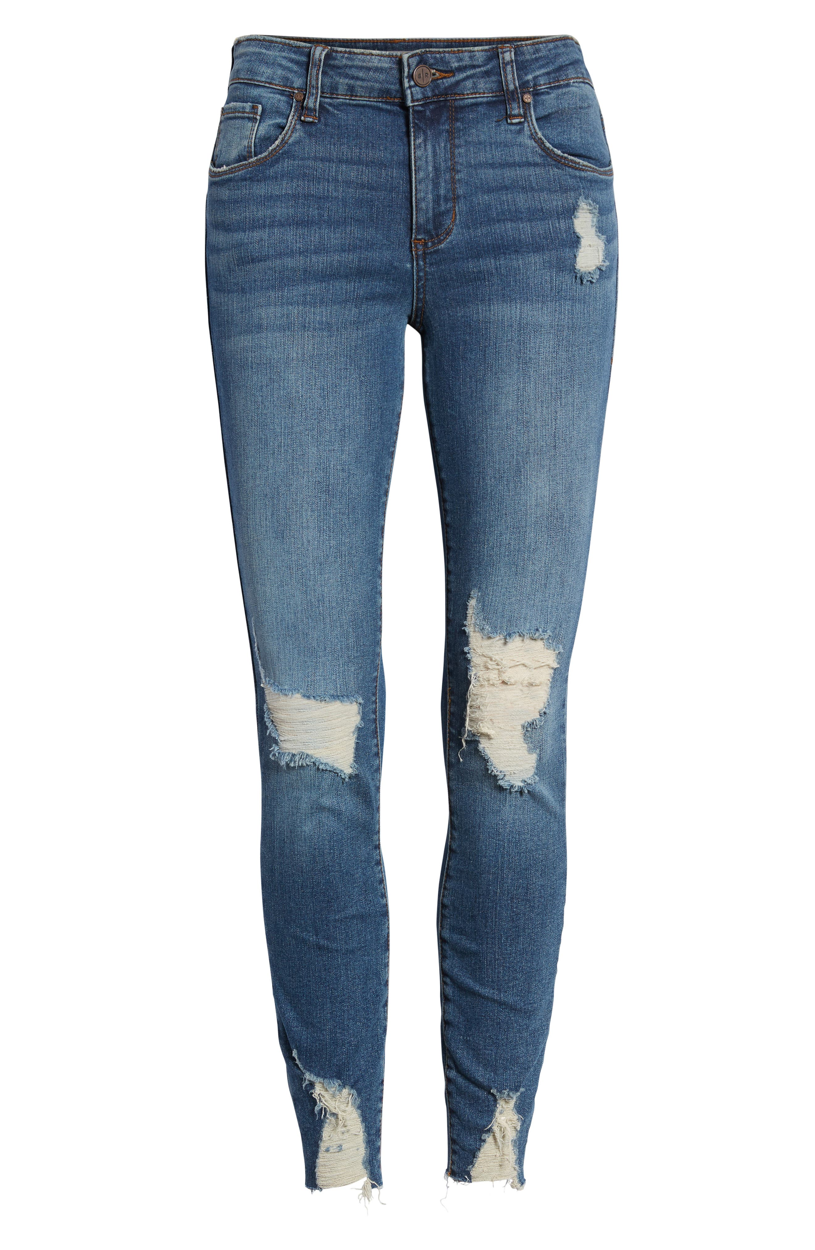 Ripped Skinny Jeans,                             Alternate thumbnail 7, color,                             DARK VINTAGE WASH