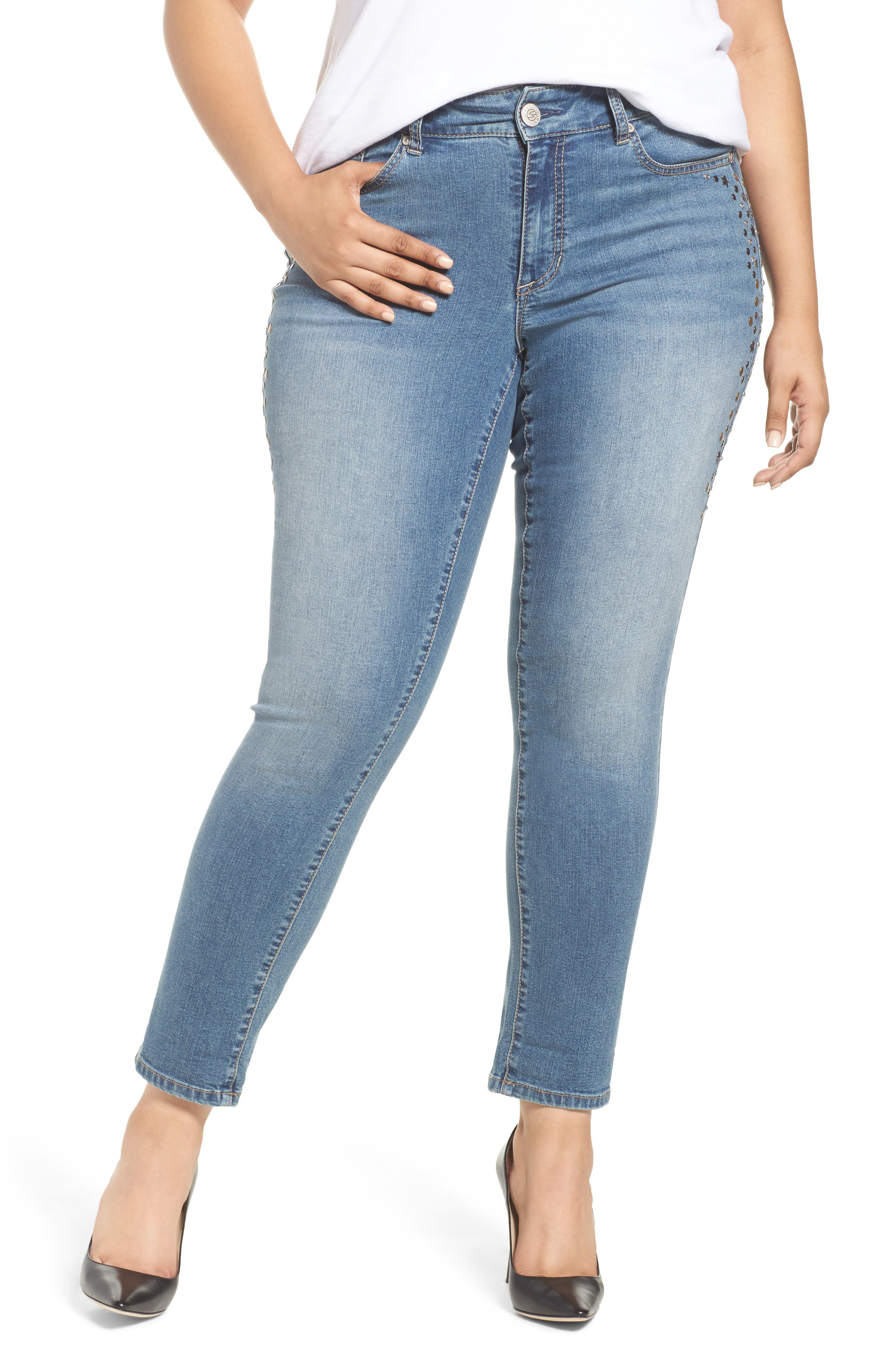 Stone Detail Skinny Jeans,                             Main thumbnail 1, color,                             DAPHNE