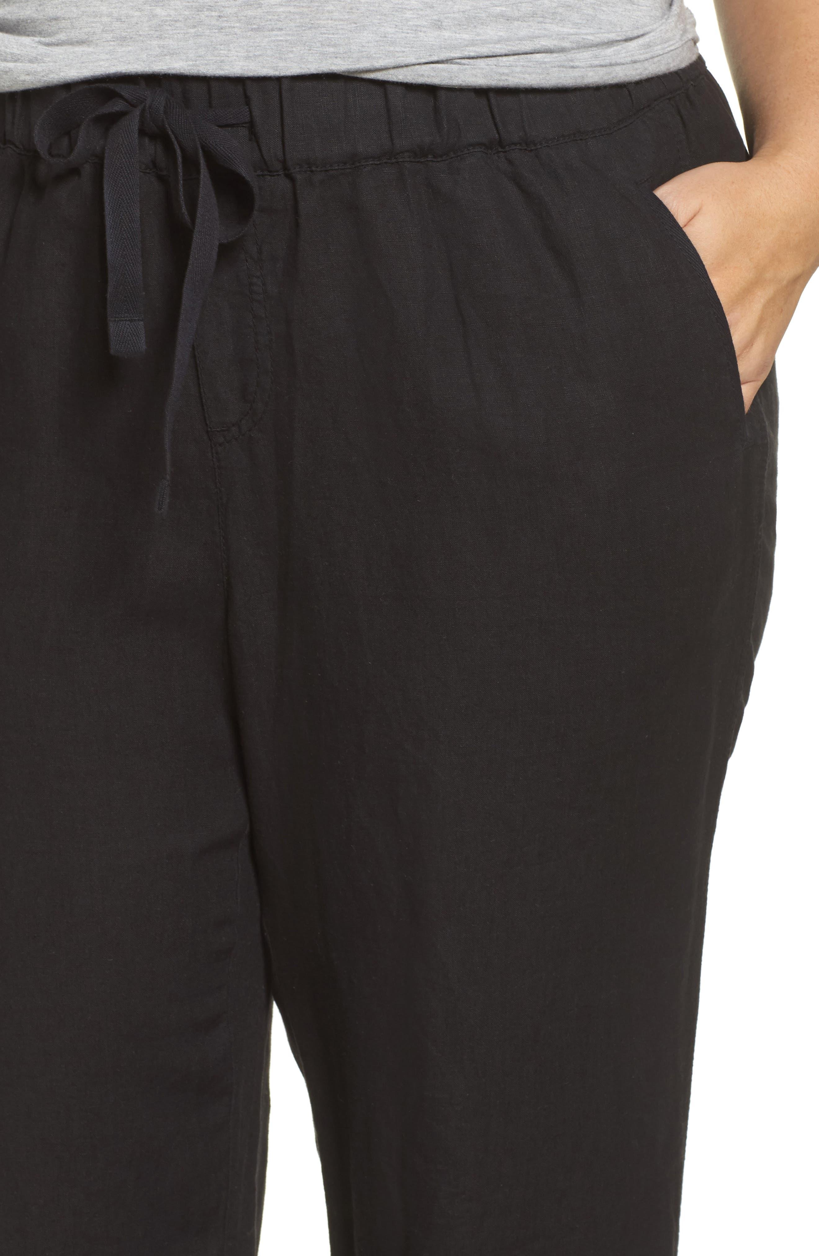Linen Track Pants,                             Alternate thumbnail 4, color,                             001