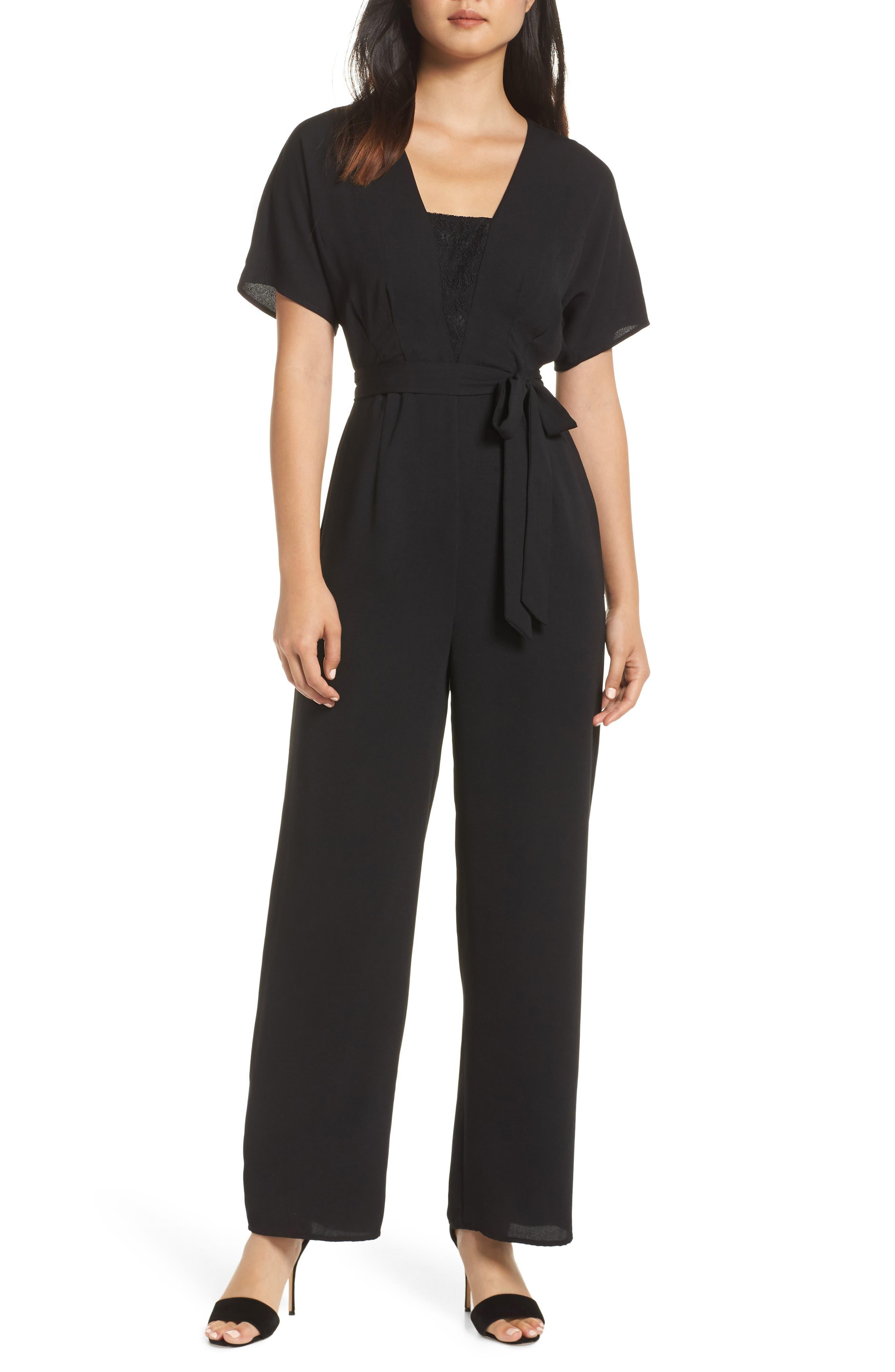 19 COOPER Lace Inset Jumpsuit in Black