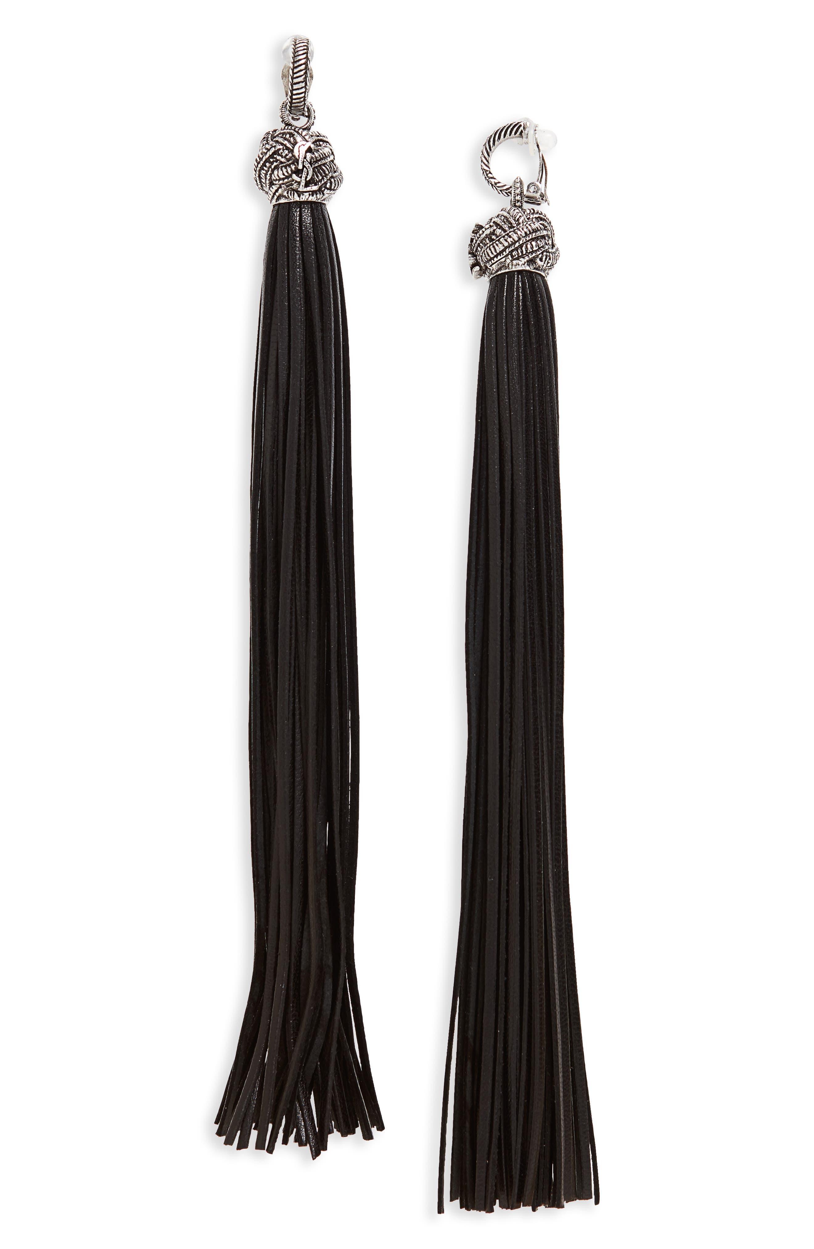 Leather Tassel Earrings,                         Main,                         color, ARGENT OXYDE/ NOIR