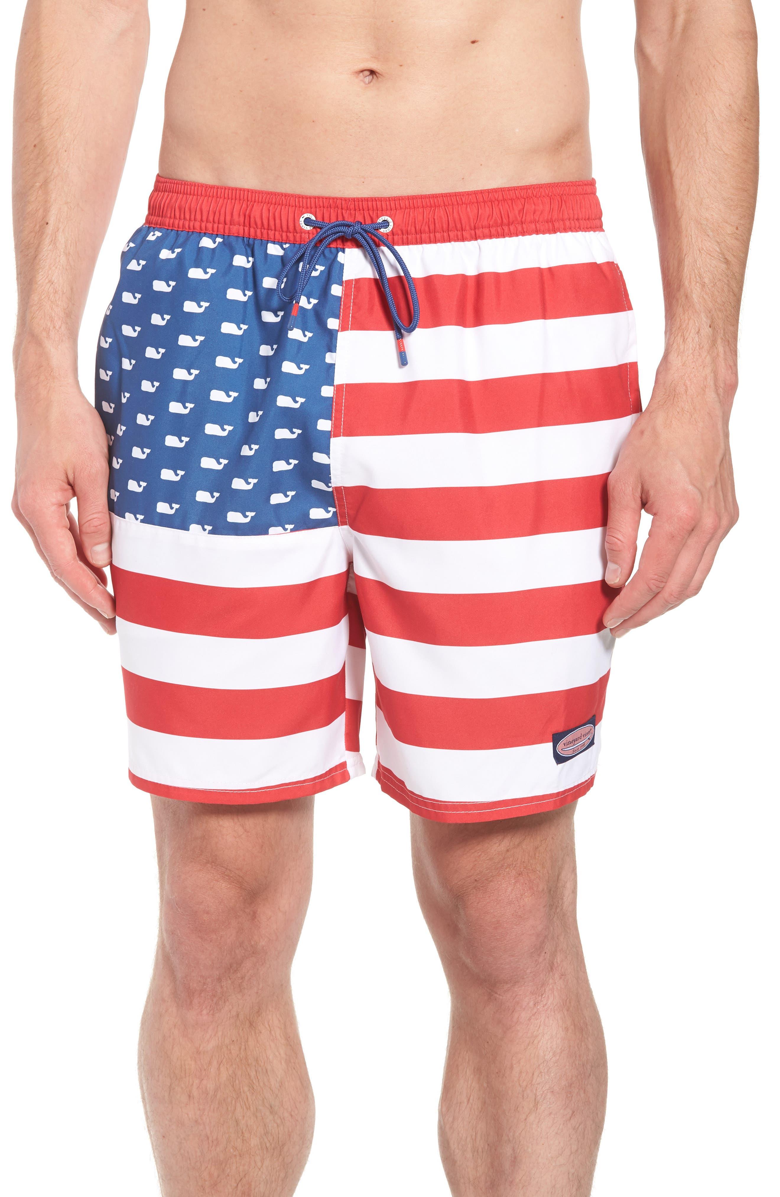 Chappy USA Flag Swim Trunks,                         Main,                         color, 461
