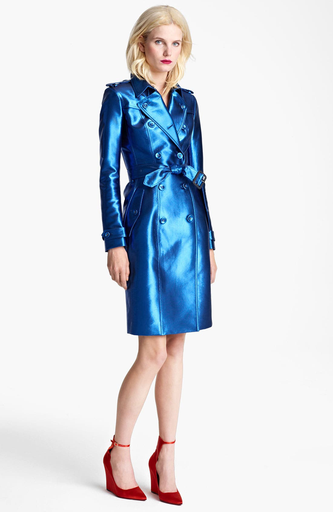 BURBERRY PRORSUM,                             Belted Metallic Trench Coat,                             Main thumbnail 1, color,                             430