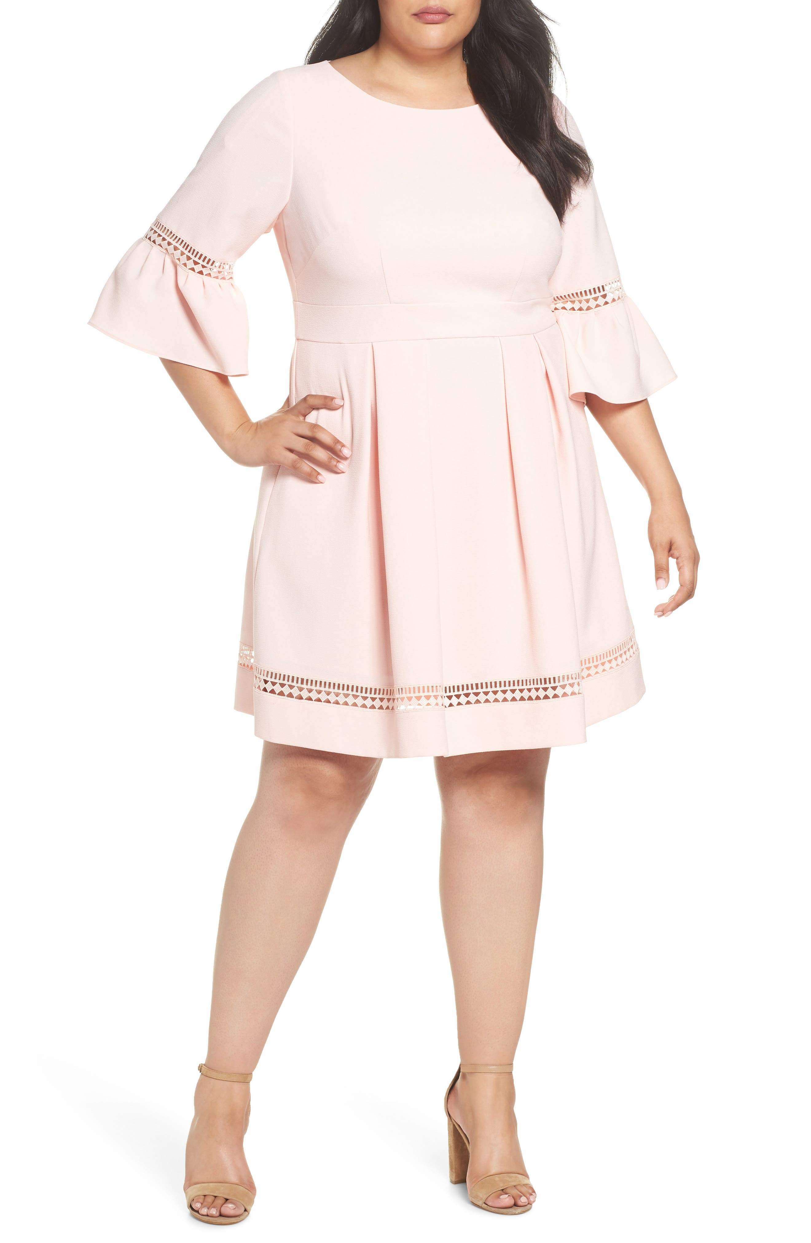 Bell Sleeve Fit & Flare Dress,                         Main,                         color, BLUSH