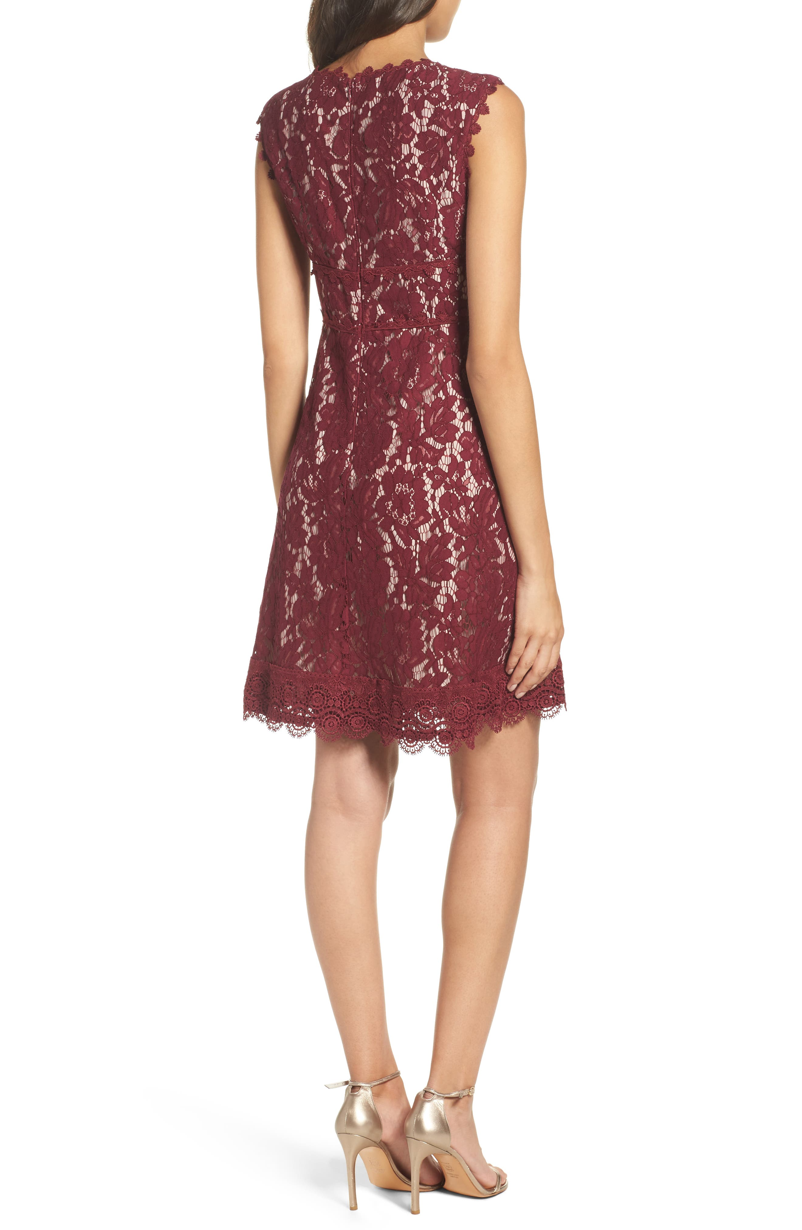 Cynthia Lace Fit & Flare Dress,                             Alternate thumbnail 2, color,                             605