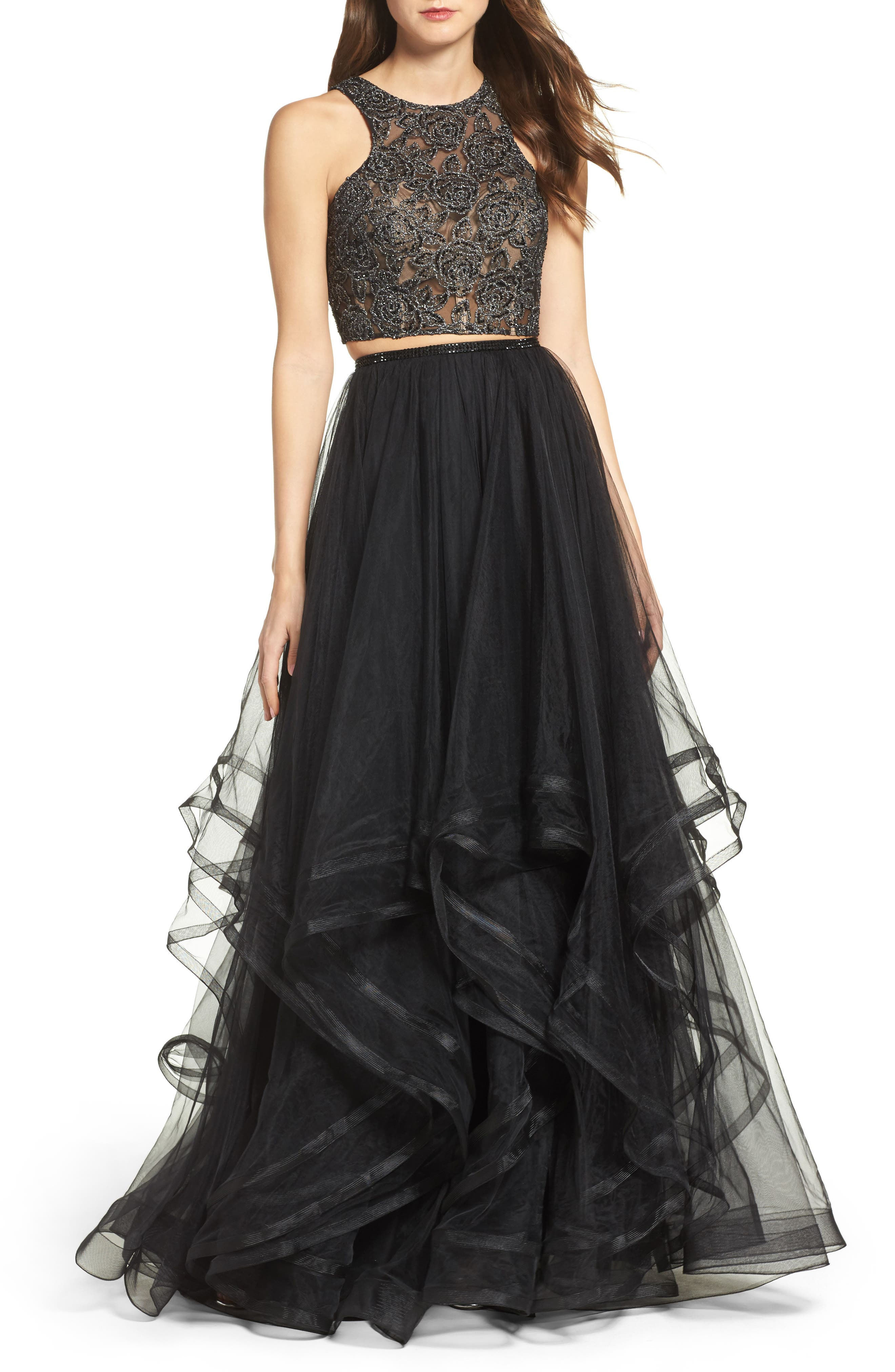 Embellished Lace Two-Piece Gown,                         Main,                         color,