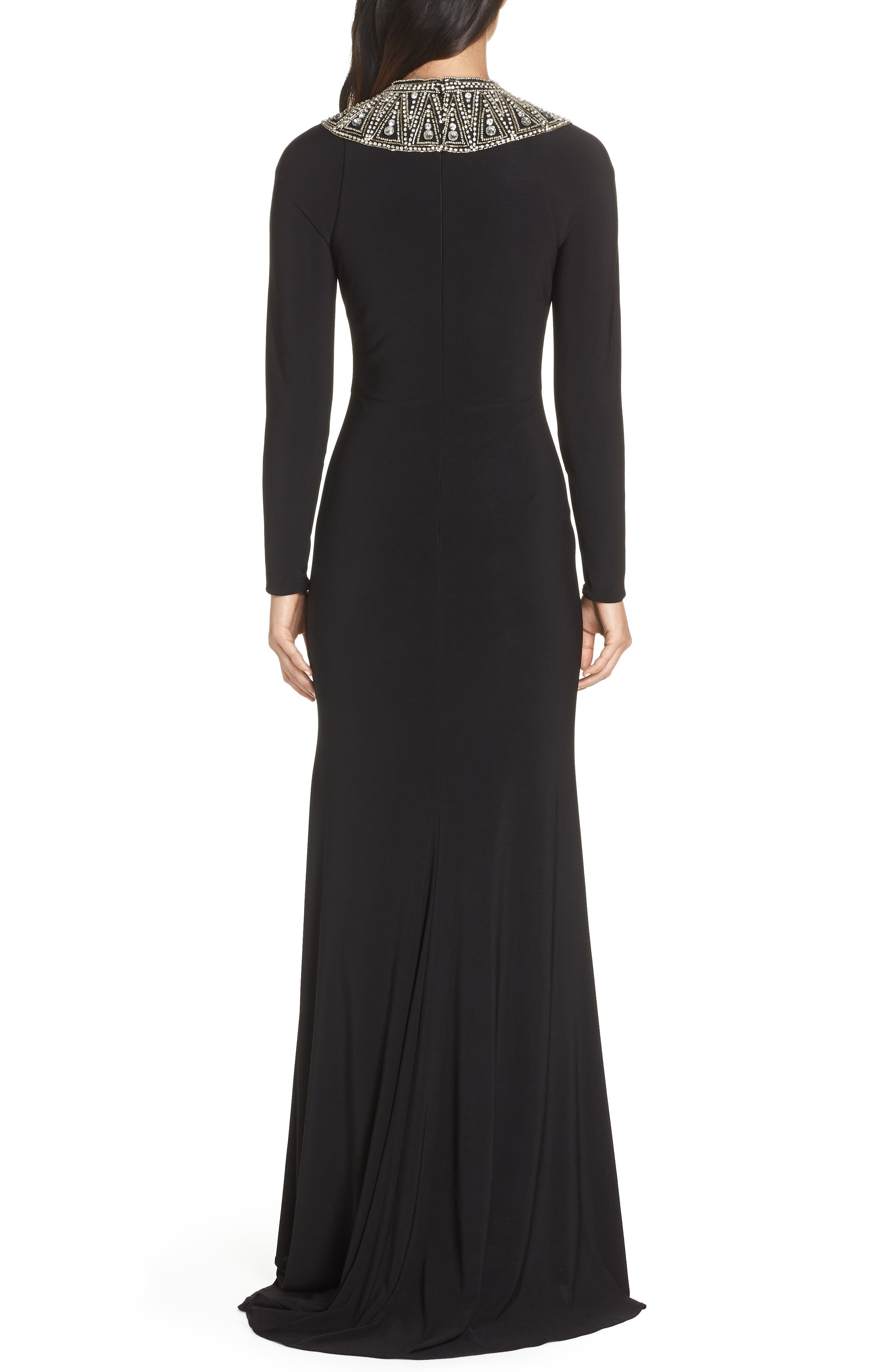 IEENA FOR MAC DUGGAL,                             Mac Duggal Beaded Collar Jersey Gown,                             Alternate thumbnail 2, color,                             BLACK