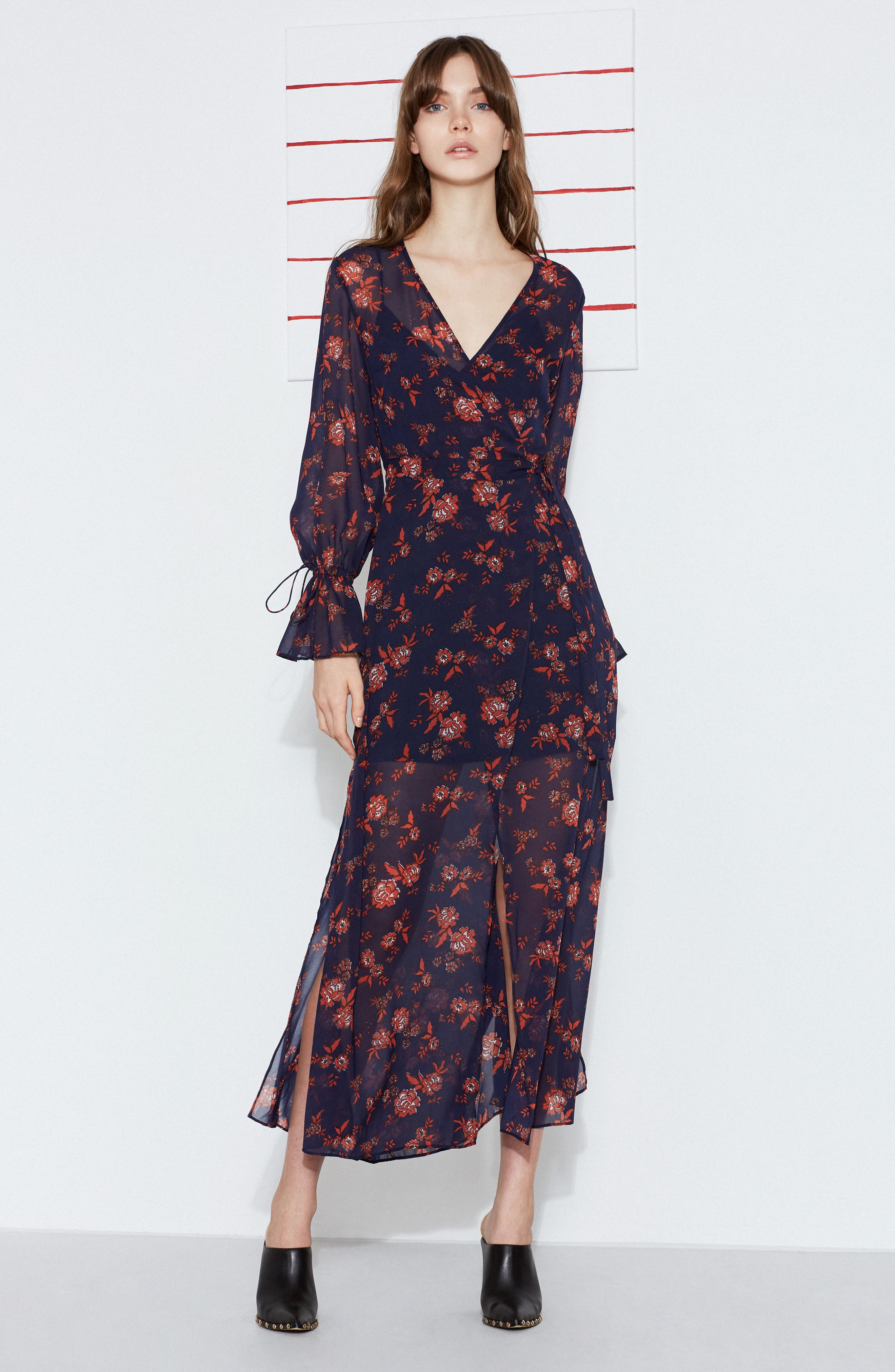 Capital Floral Wrap Maxi Dress,                             Alternate thumbnail 7, color,                             413