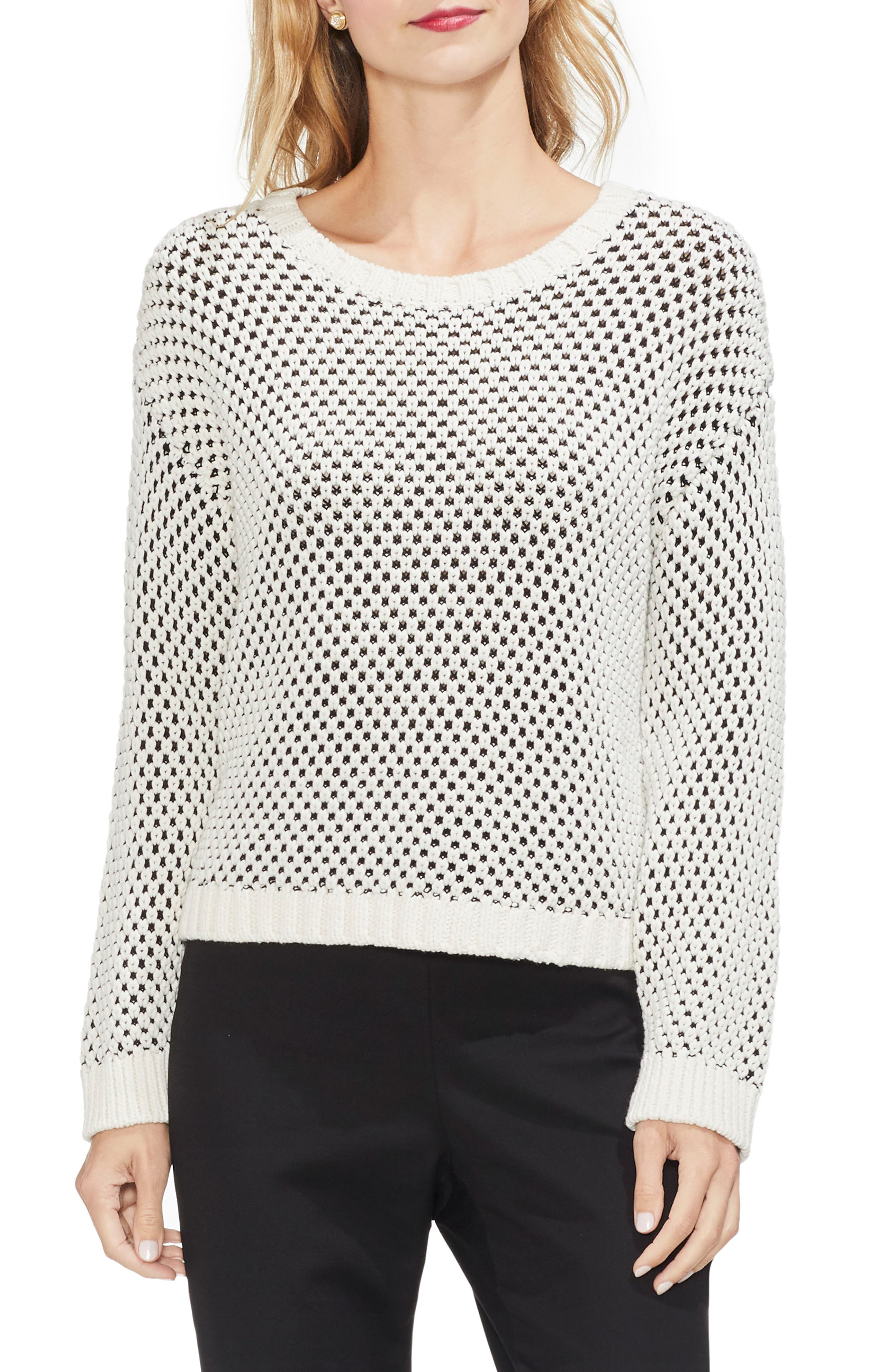 VINCE CAMUTO Textured Stitch Sweater, Main, color, ANTIQUE WHITE