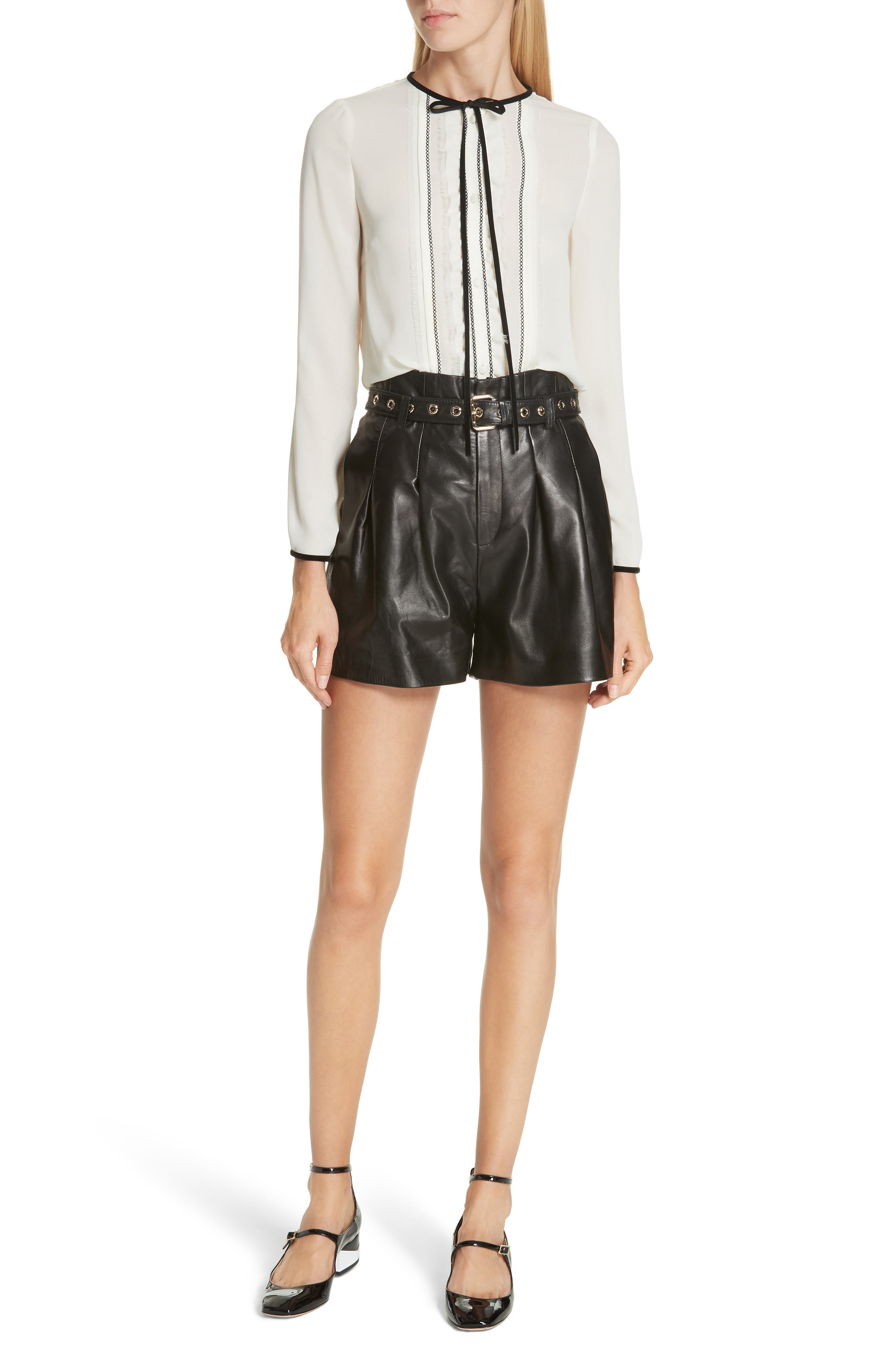Belted Leather Shorts,                             Alternate thumbnail 7, color,                             BLACK