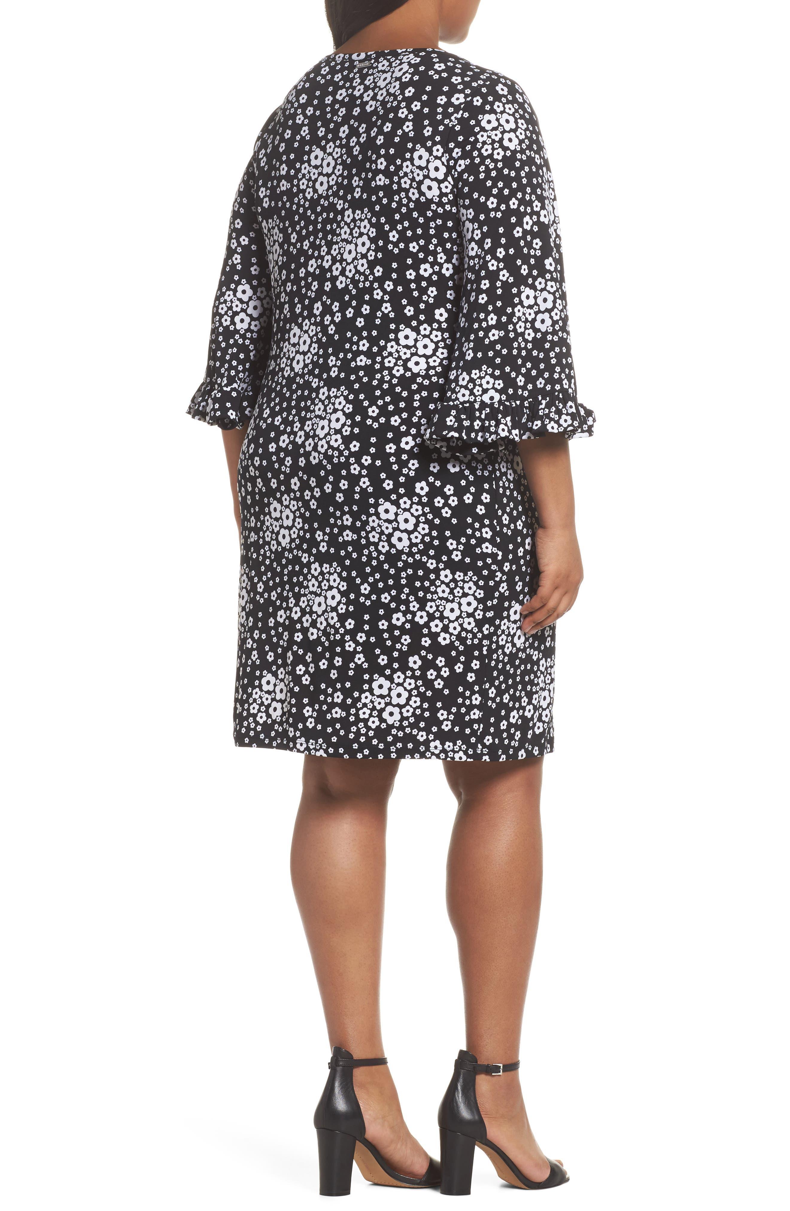 Mod Floral Flutter Sleeve Dress,                             Alternate thumbnail 2, color,                             018