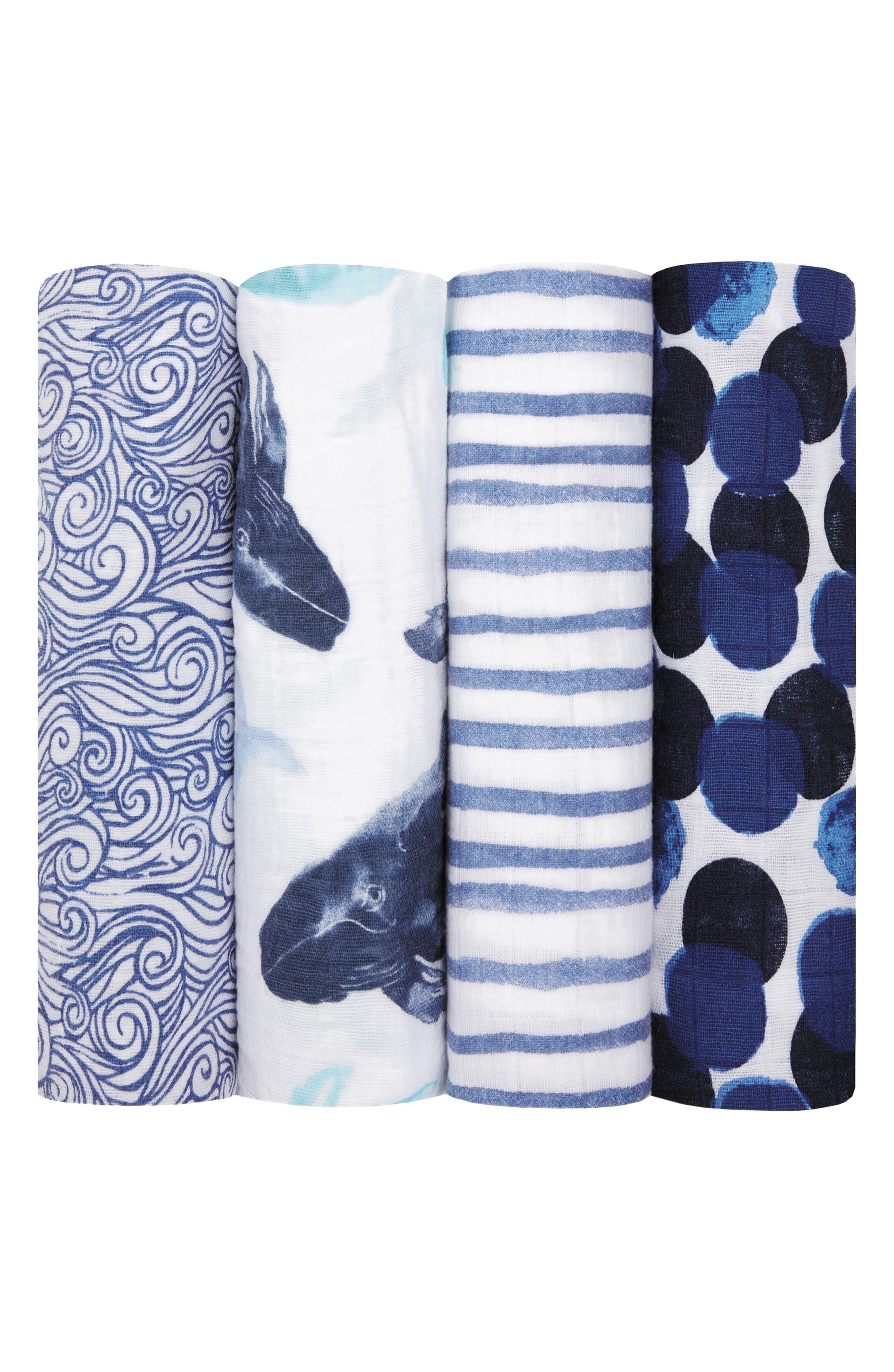 Set of 4 Classic Swaddling Cloths,                             Main thumbnail 1, color,                             SEAFARING