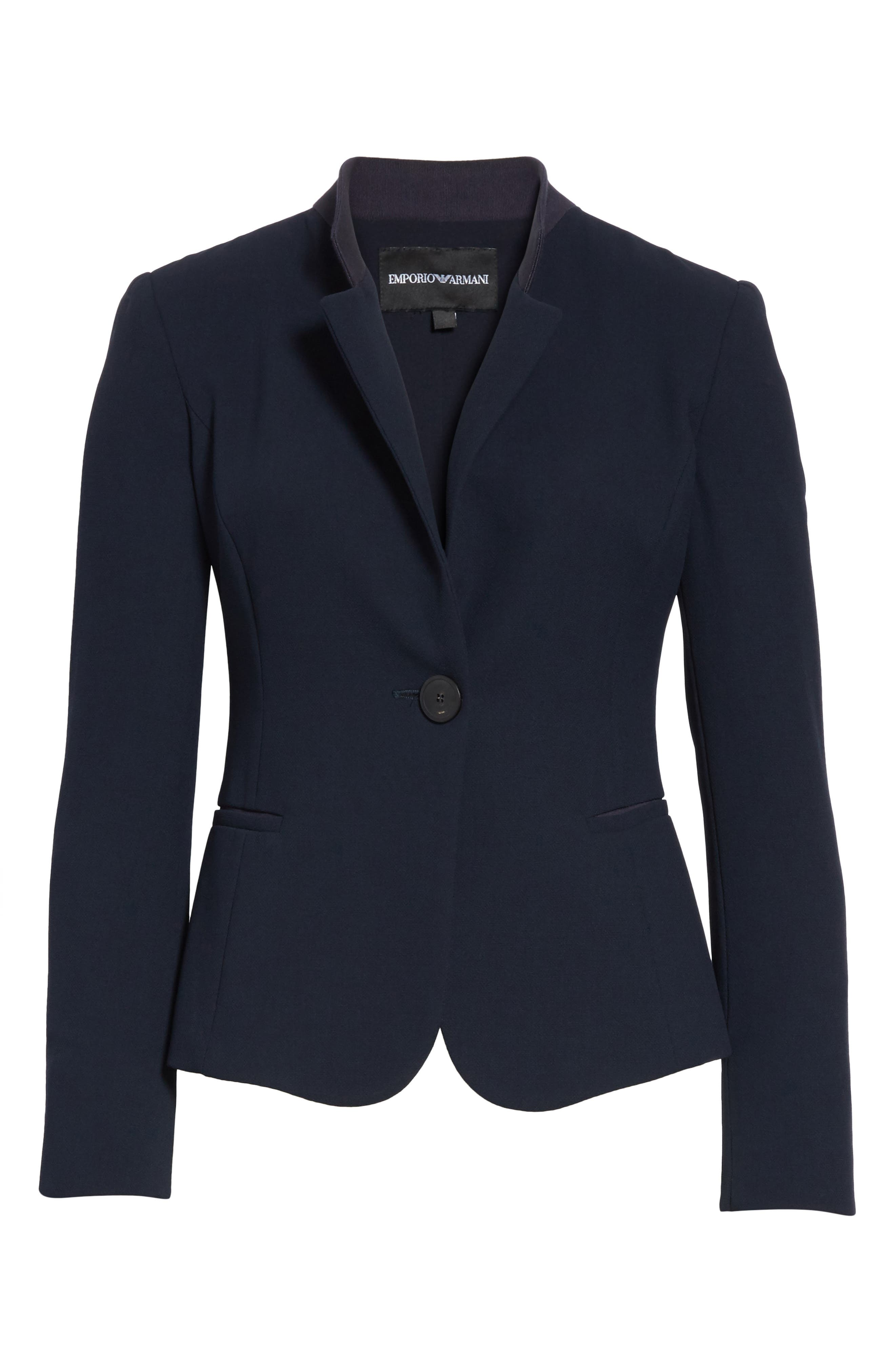 Pop Collar Stretch Wool Crepe Blazer,                             Alternate thumbnail 5, color,                             403