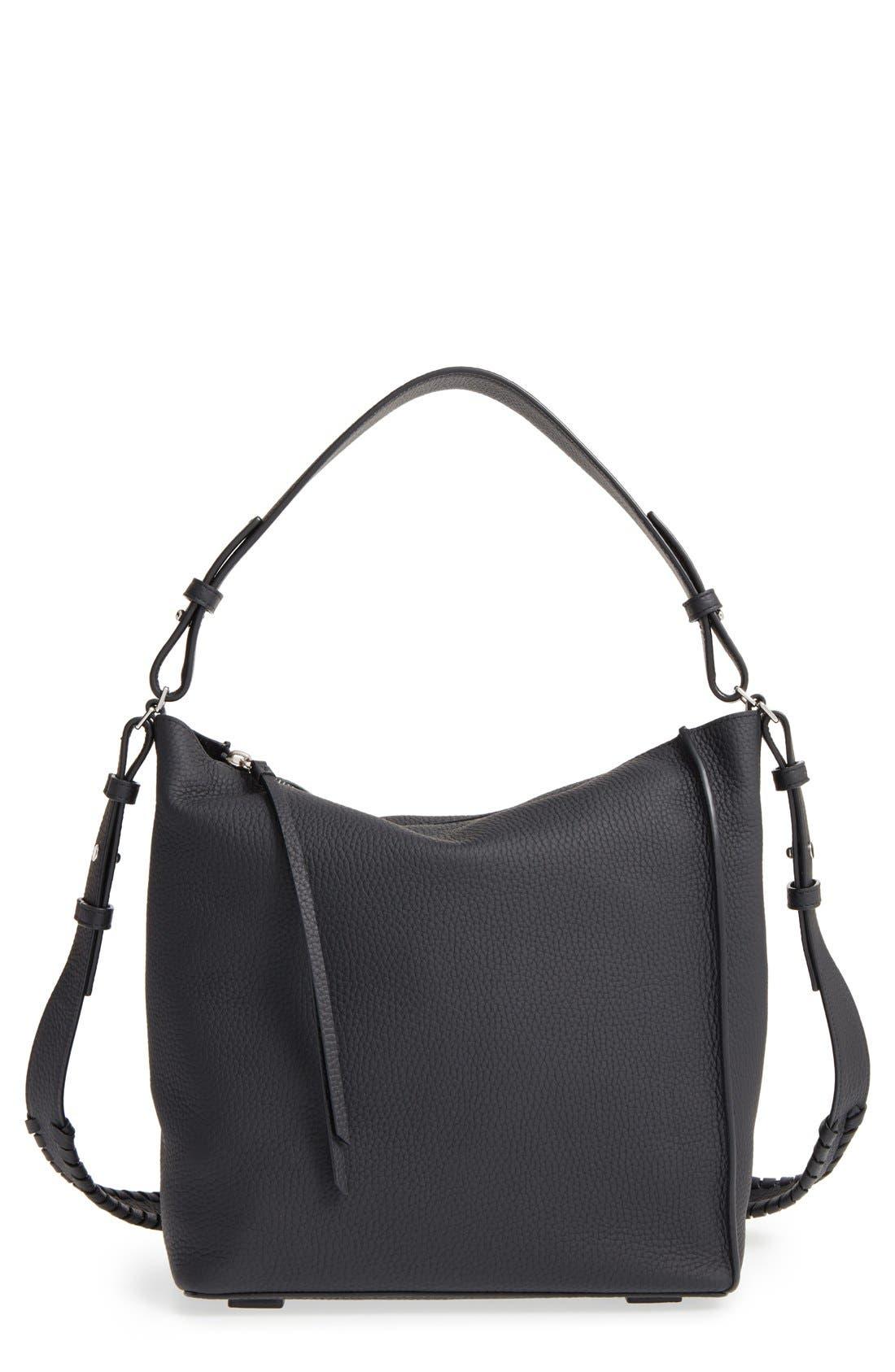 'Kita' Leather Shoulder/Crossbody Bag,                             Main thumbnail 1, color,                             BLACK