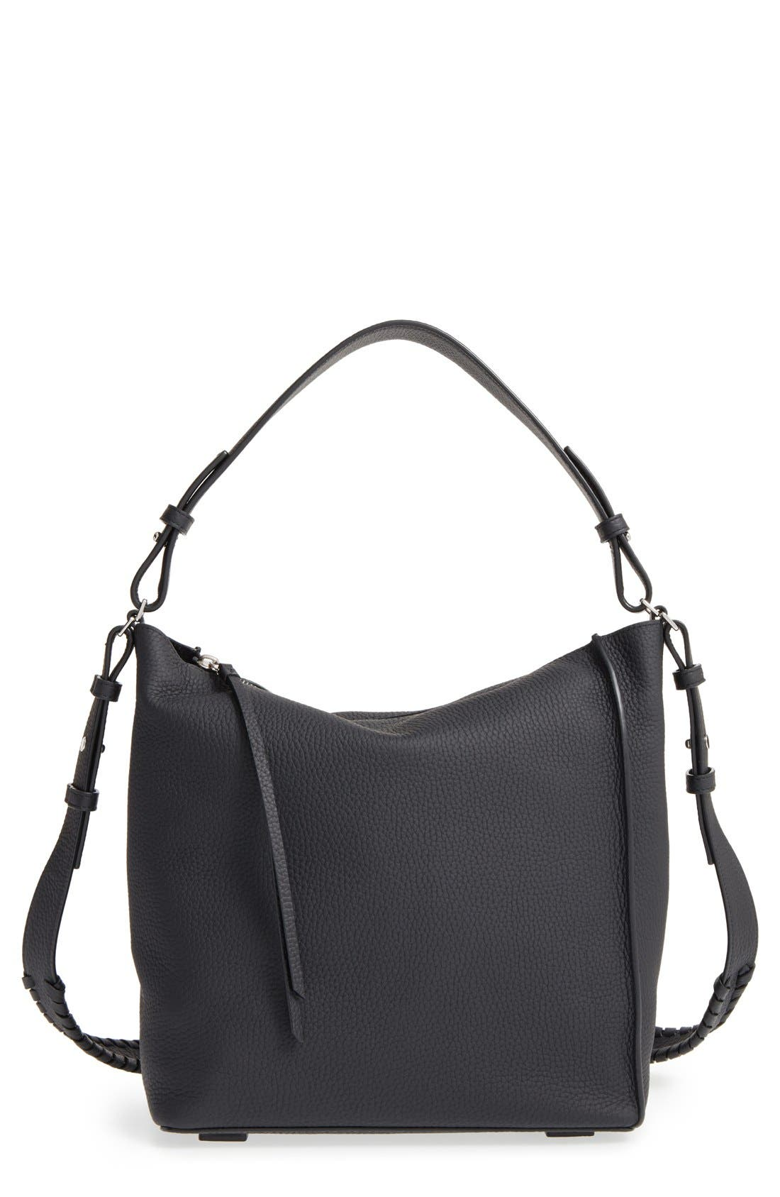 'Kita' Leather Shoulder/Crossbody Bag,                         Main,                         color, BLACK