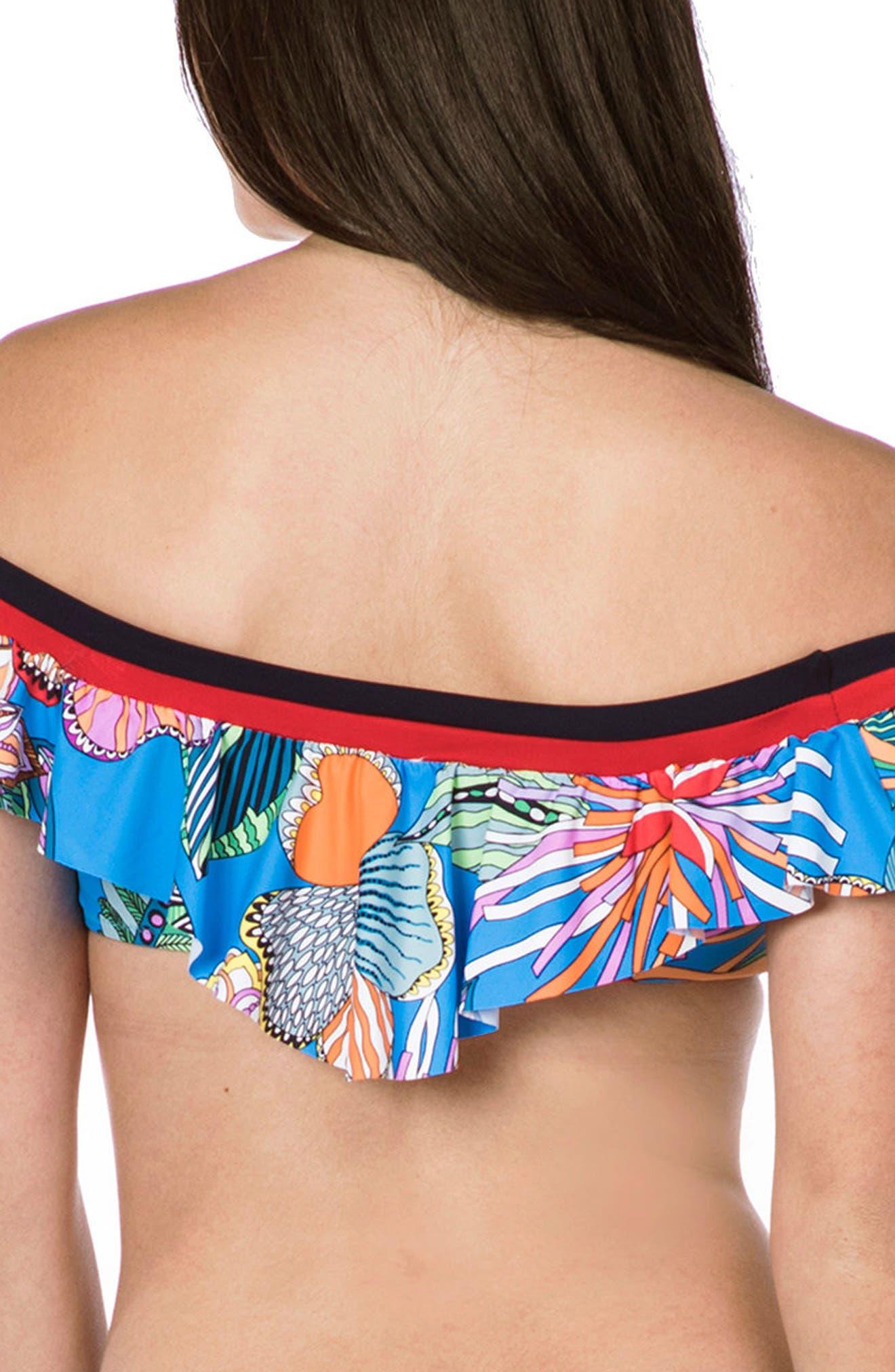 Tahiti Tropical Off the Shoulder Bikini Top,                             Alternate thumbnail 2, color,                             BLUE MULTI