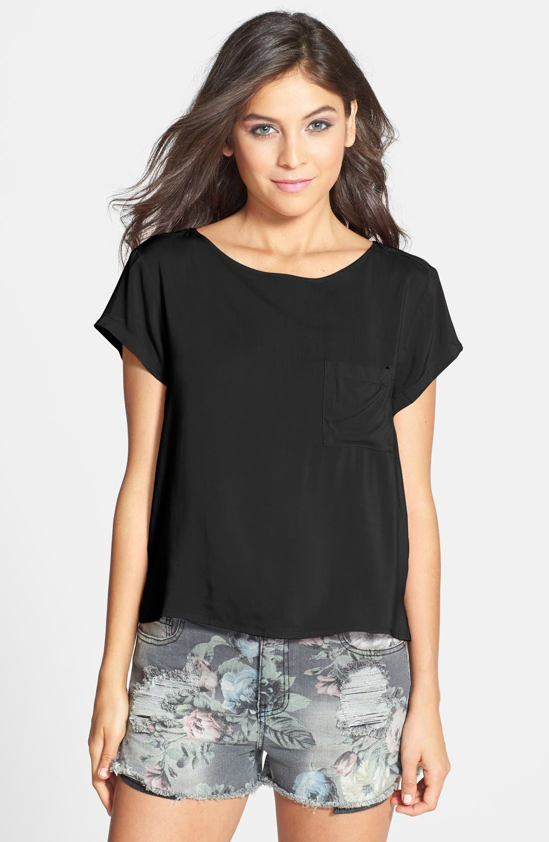 Back Pleat Woven Tee, Main, color, 001