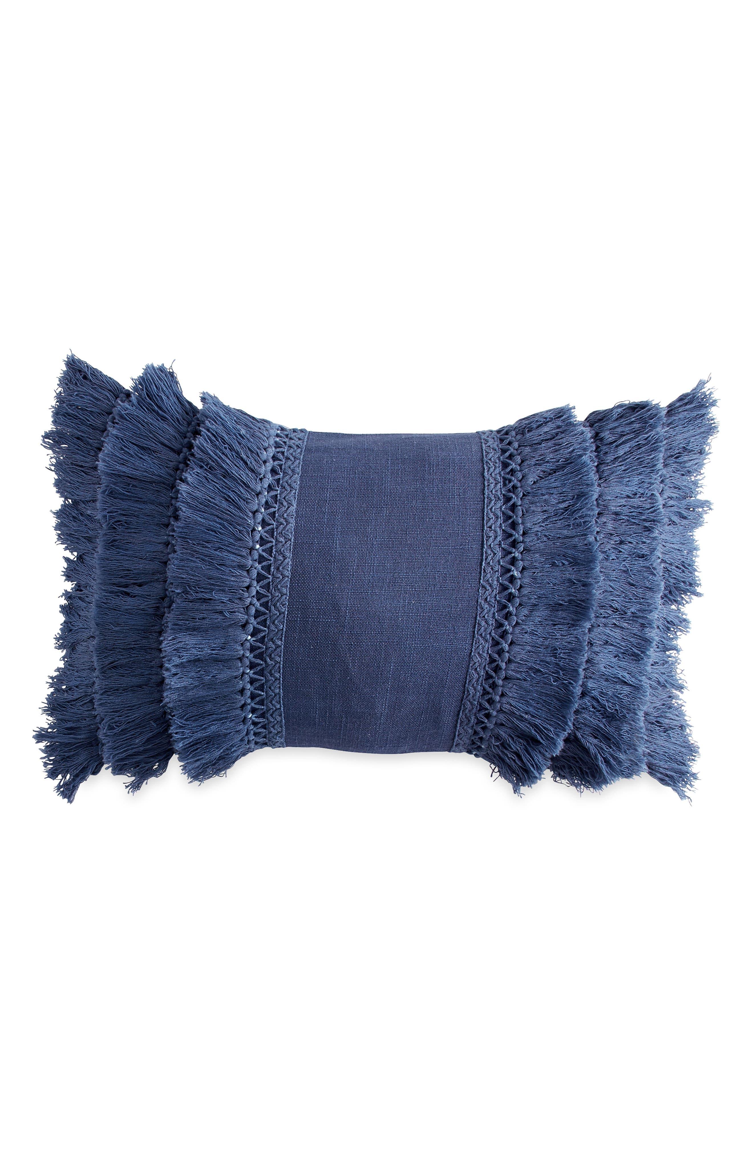 Fringe Pillow,                         Main,                         color, NAVY