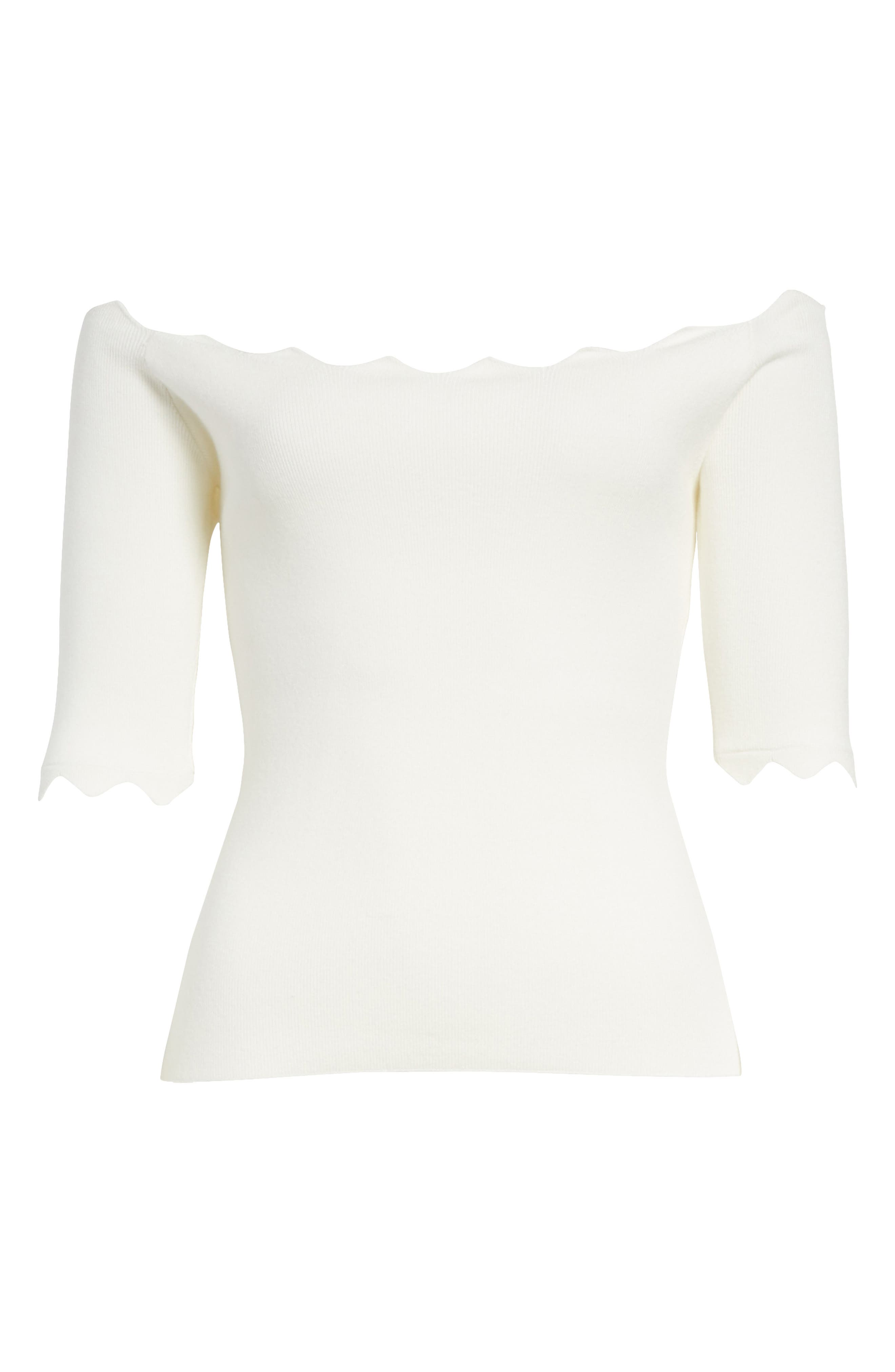 Scalloped Off the Shoulder Sweater,                             Alternate thumbnail 6, color,                             150
