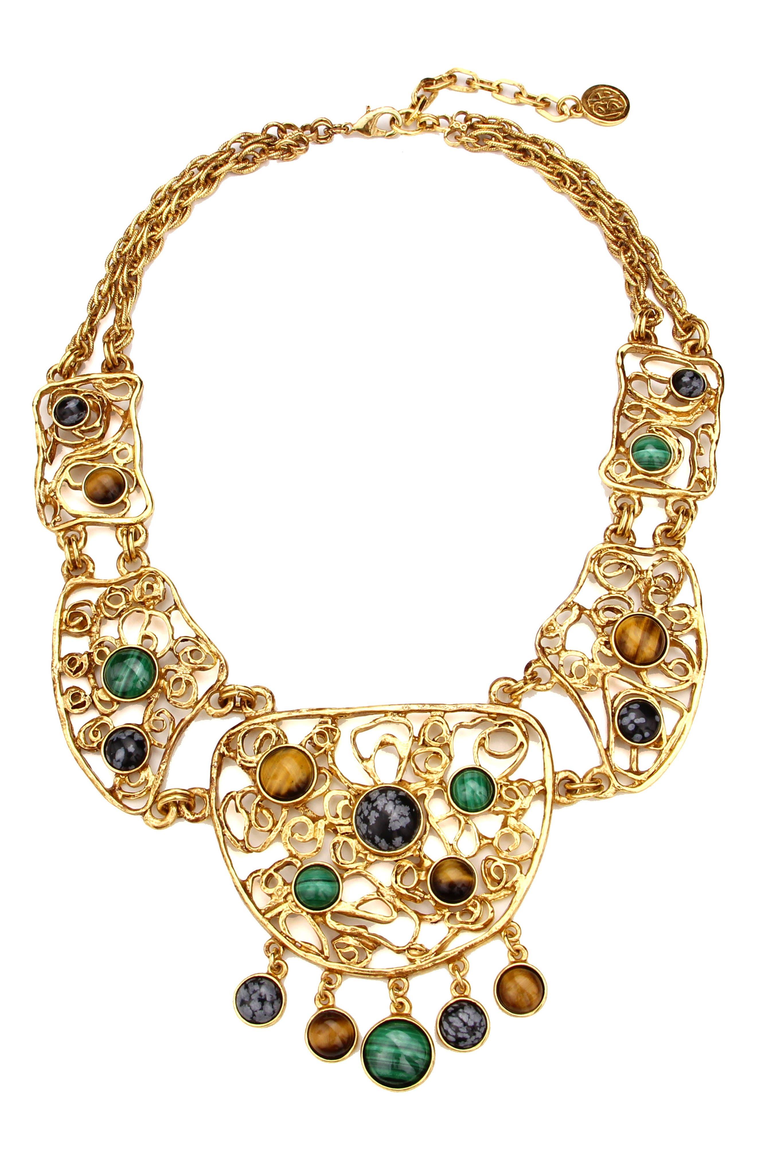 Multicolor Golden Lace Bib Necklace,                             Main thumbnail 1, color,                             710