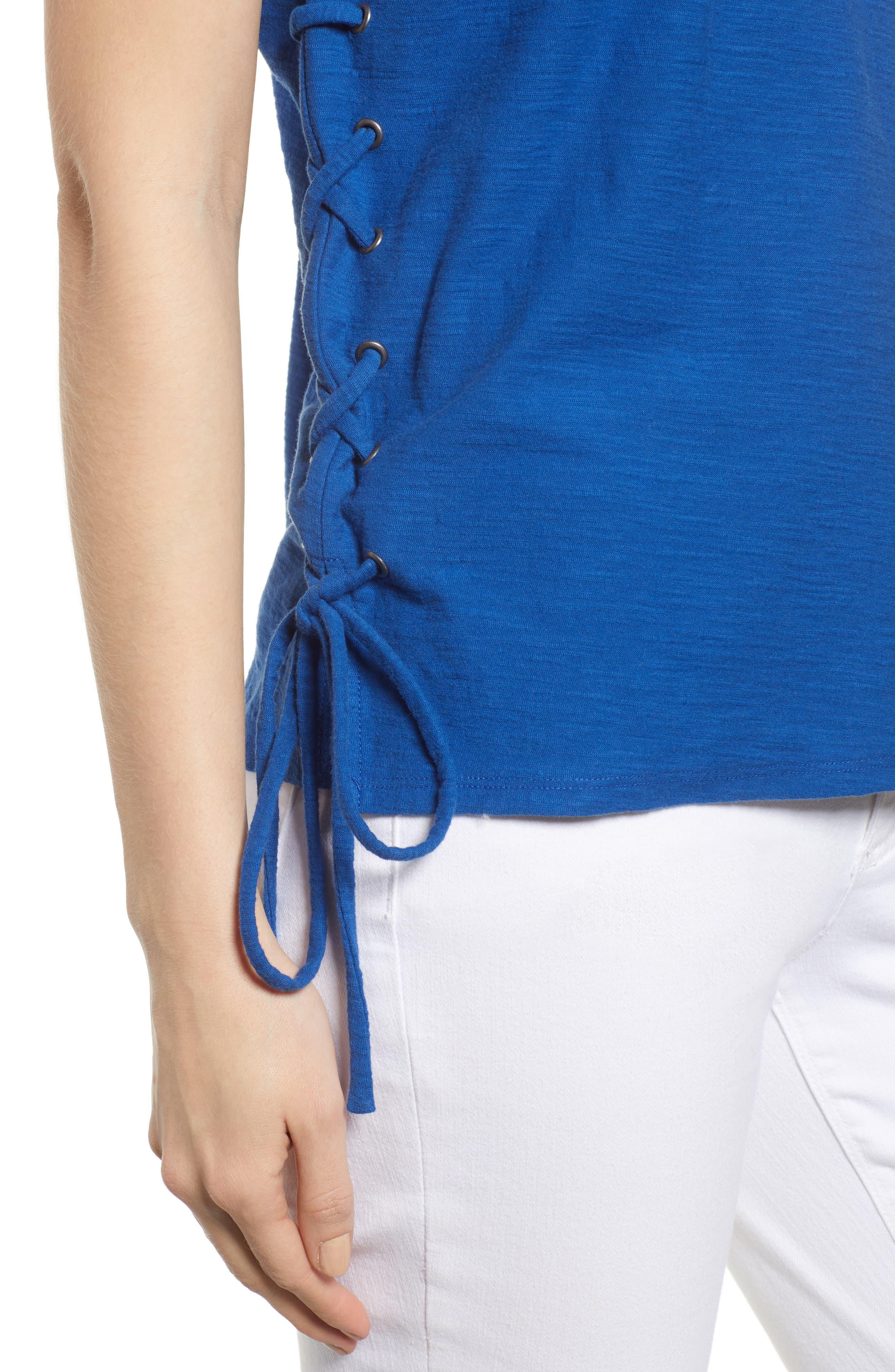Side Lace-Up Cotton Slub Top,                             Alternate thumbnail 32, color,