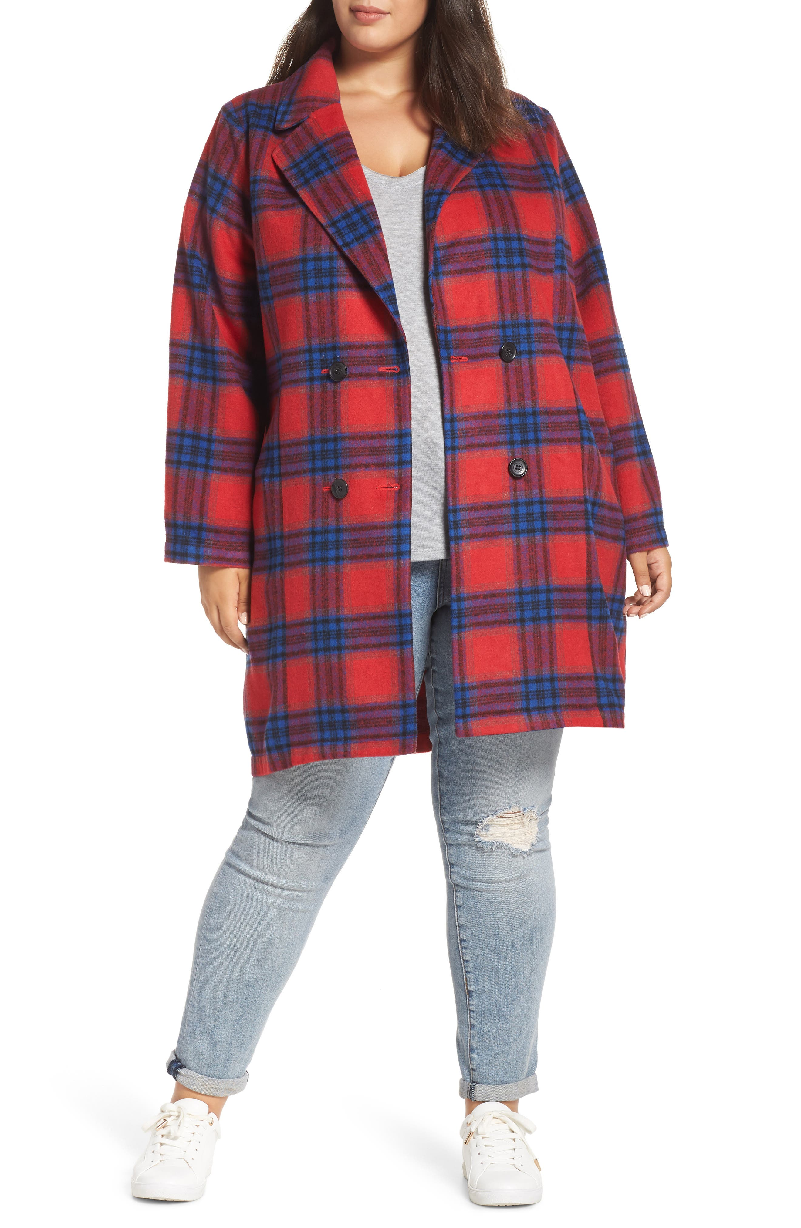 Double Breasted Plaid Jacket,                         Main,                         color, RED CHINOISE RITA PLAID