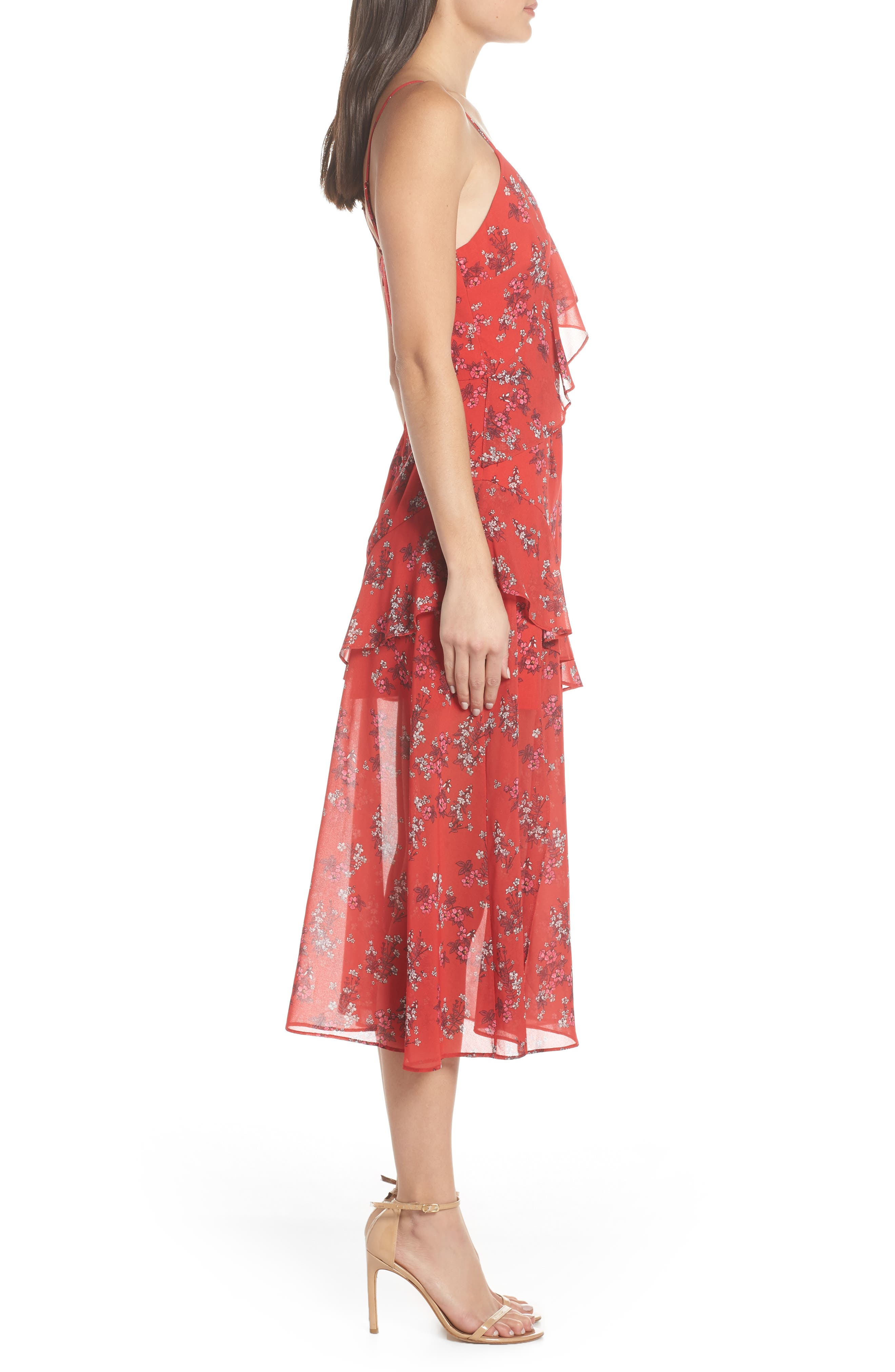KEEPSAKE THE LABEL,                             Heart & Soul Ruffle Detail Tea Length Dress,                             Alternate thumbnail 3, color,                             SMALL RED FLORAL