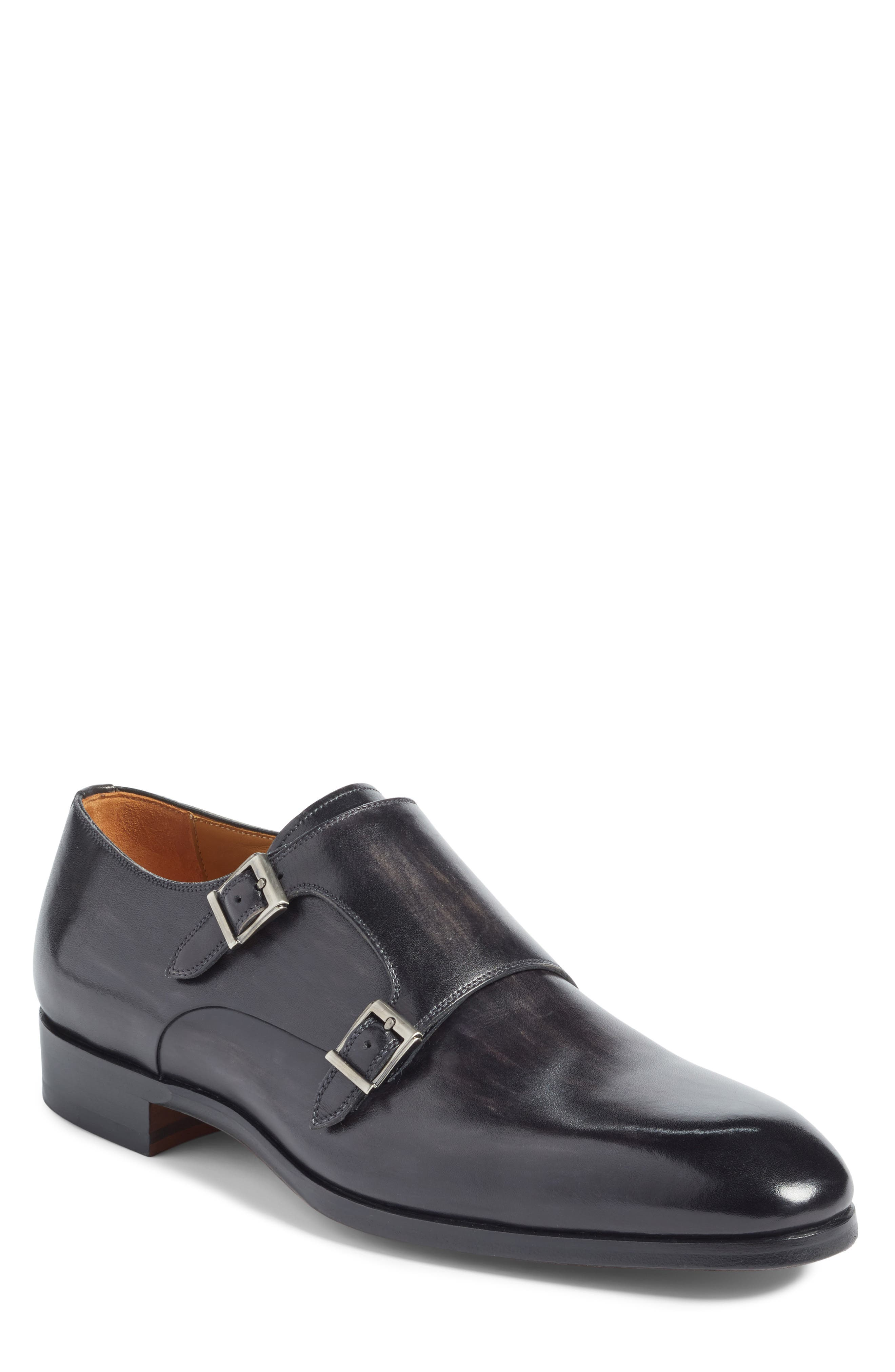 Lucio Double Strap Monk Shoe,                             Main thumbnail 1, color,                             LIGHT GREY LEATHER