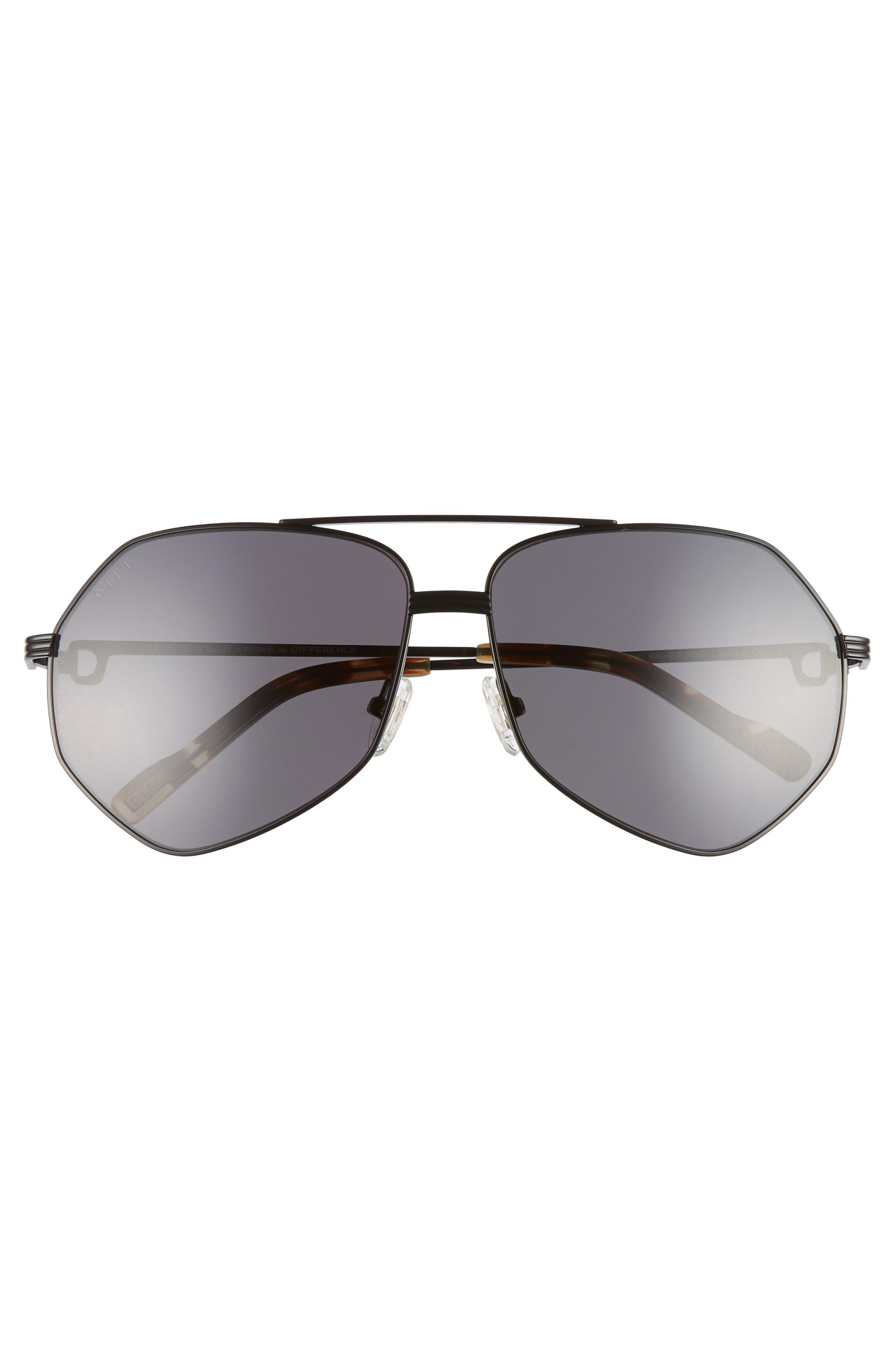 Sydney 62mm Polarized Aviator Sunglasses,                             Alternate thumbnail 3, color,                             BLACK/ MOSS HAVANA/ GREY