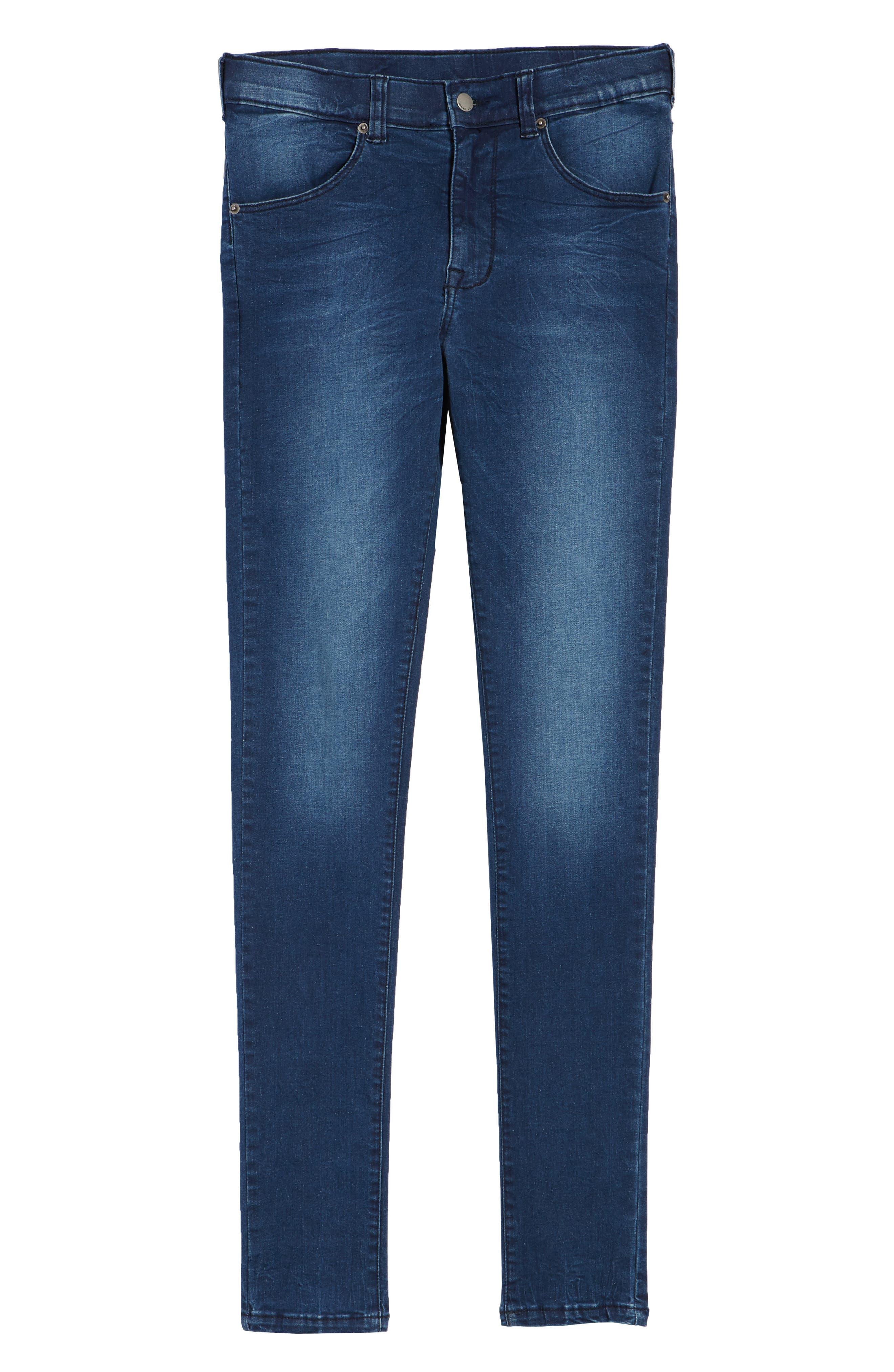 Leroy Skinny Fit Jeans,                             Alternate thumbnail 6, color,                             WORN DARK BLUE