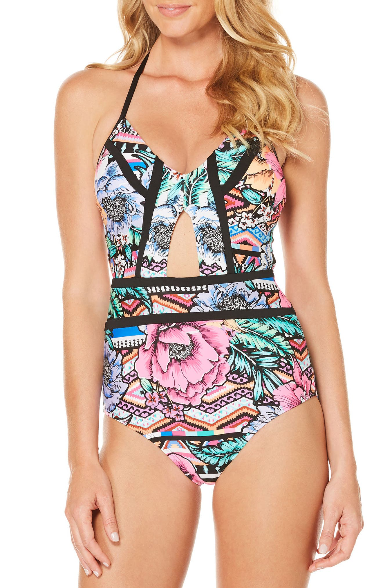 Laguna Flora One-Piece Swimsuit,                             Main thumbnail 1, color,                             001