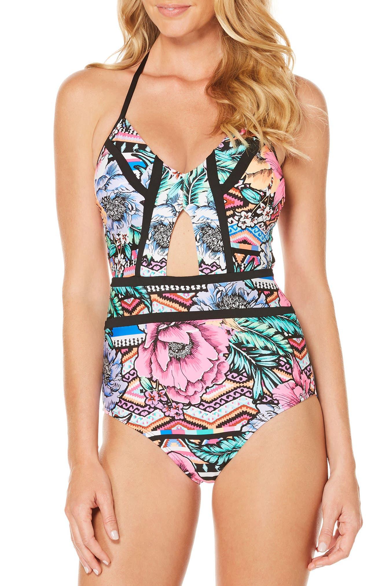 Laguna Flora One-Piece Swimsuit, Main, color, 001