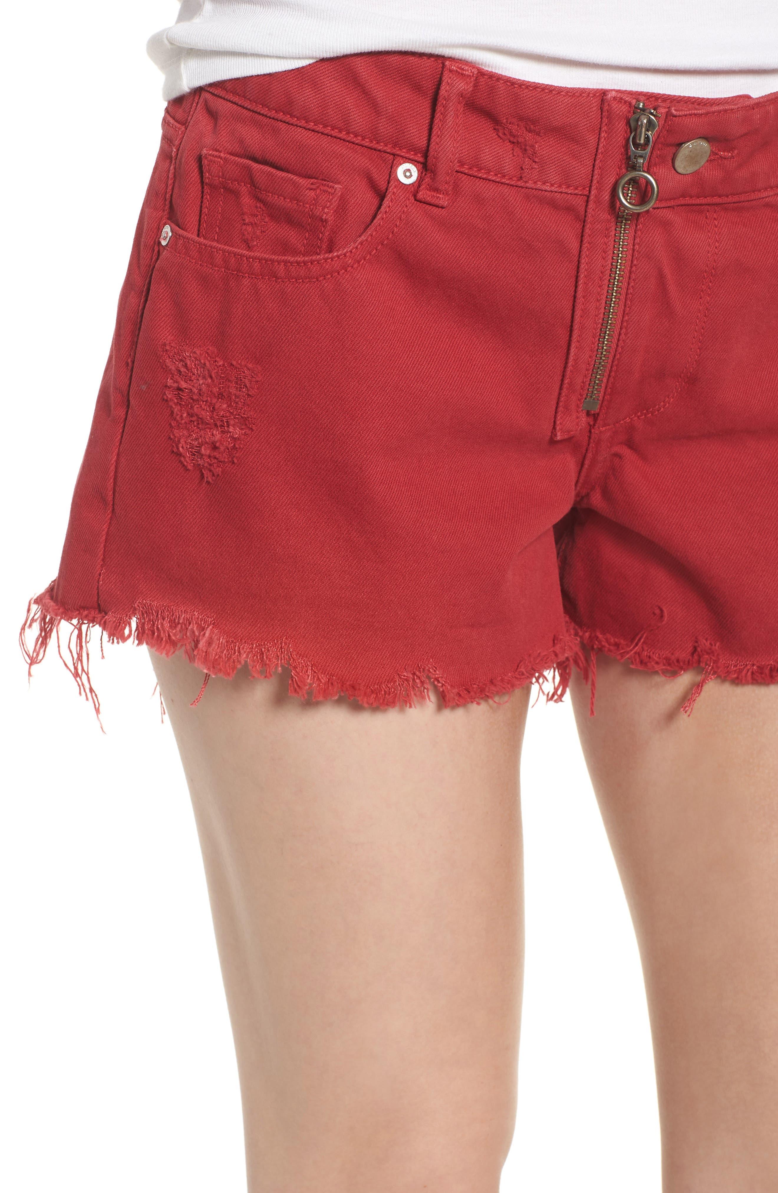 Renee Cutoff Denim Shorts,                             Alternate thumbnail 4, color,                             CHERRY BOMB