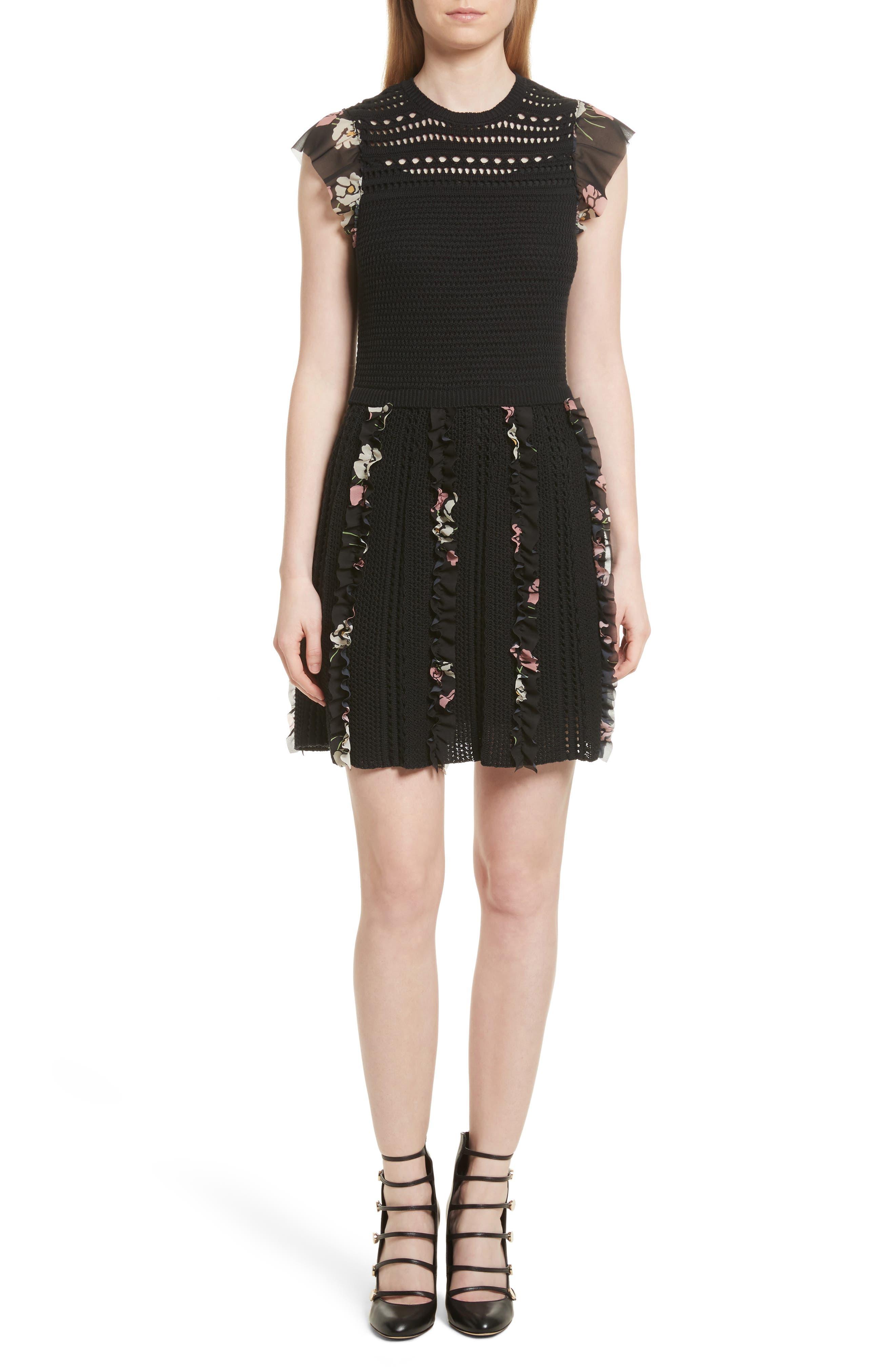 Ruffle Crochet Dress,                             Main thumbnail 1, color,                             001