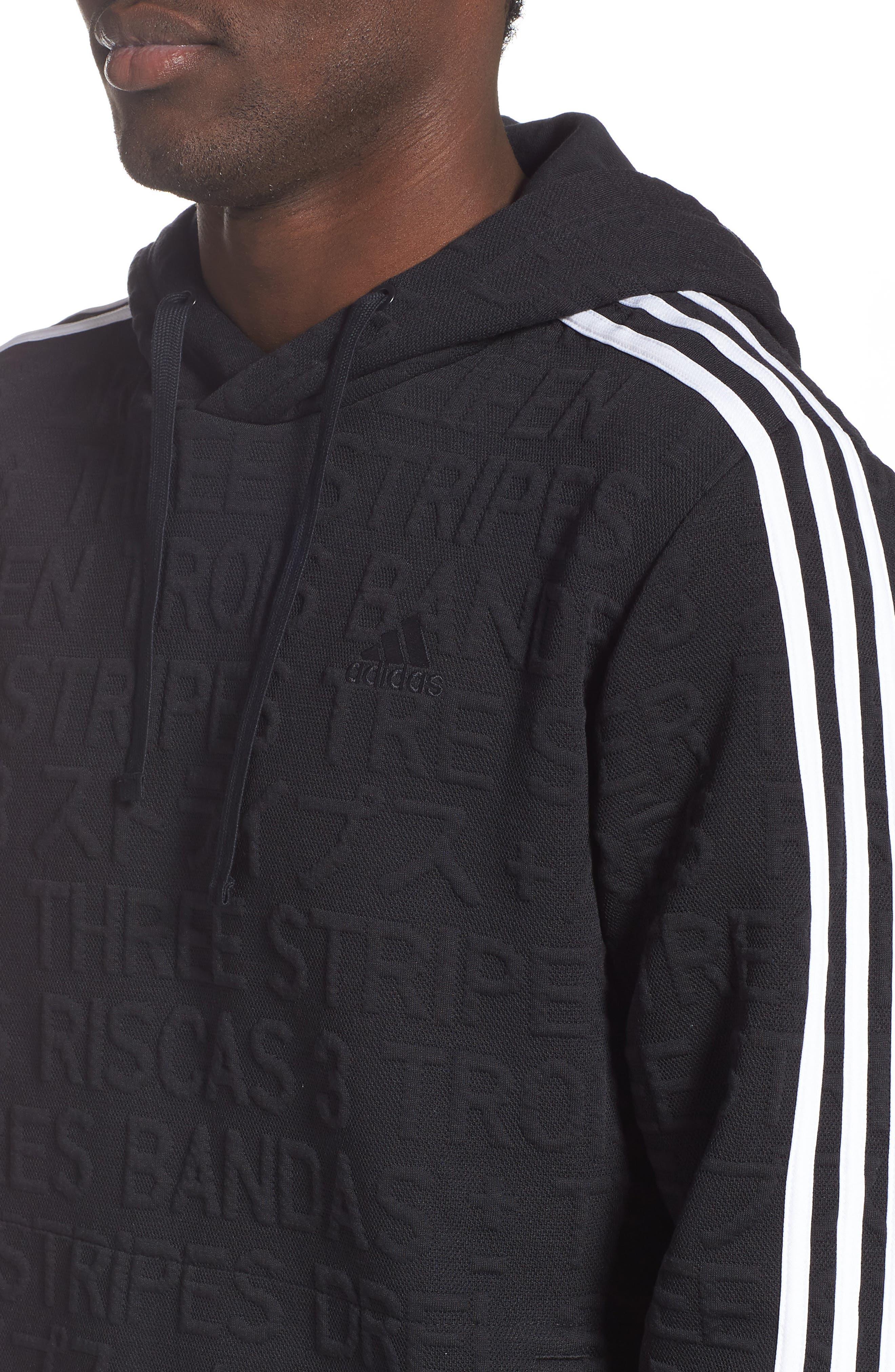 ADIDAS,                             3-Stripes Hoodie Sweatshirt,                             Alternate thumbnail 4, color,                             BLACK