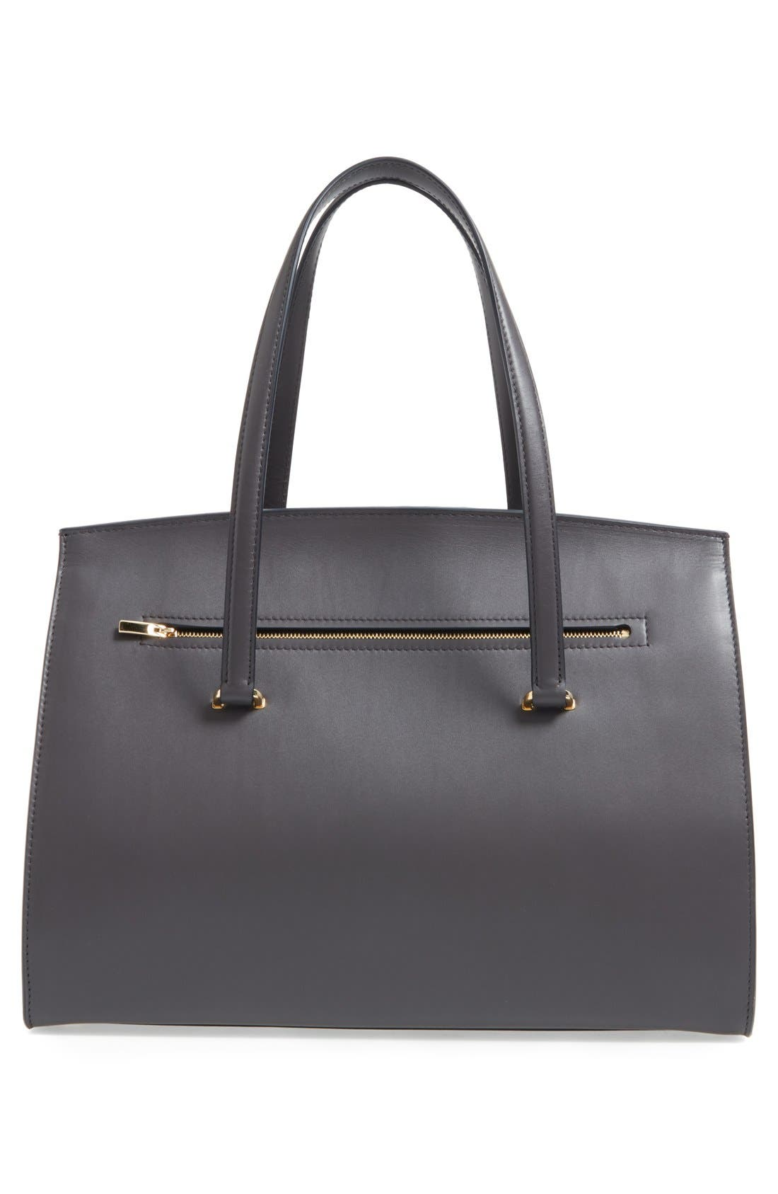 Large Smooth Leather Satchel,                             Alternate thumbnail 6, color,