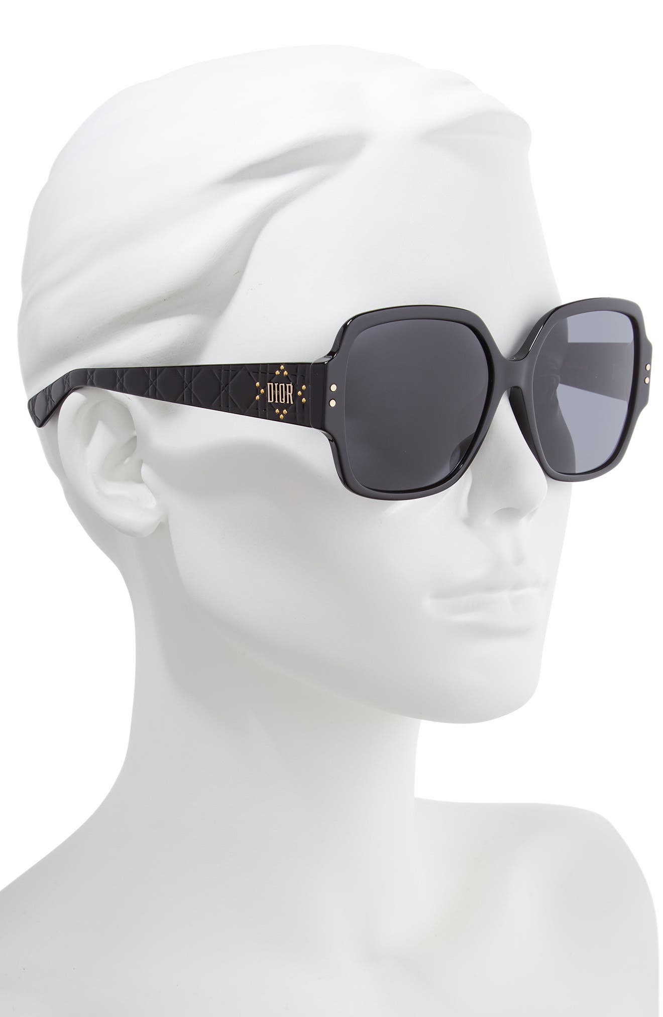 DIOR,                             Lady Dior Stud 57mm Special Fit Square Sunglasses,                             Alternate thumbnail 2, color,                             BLACK