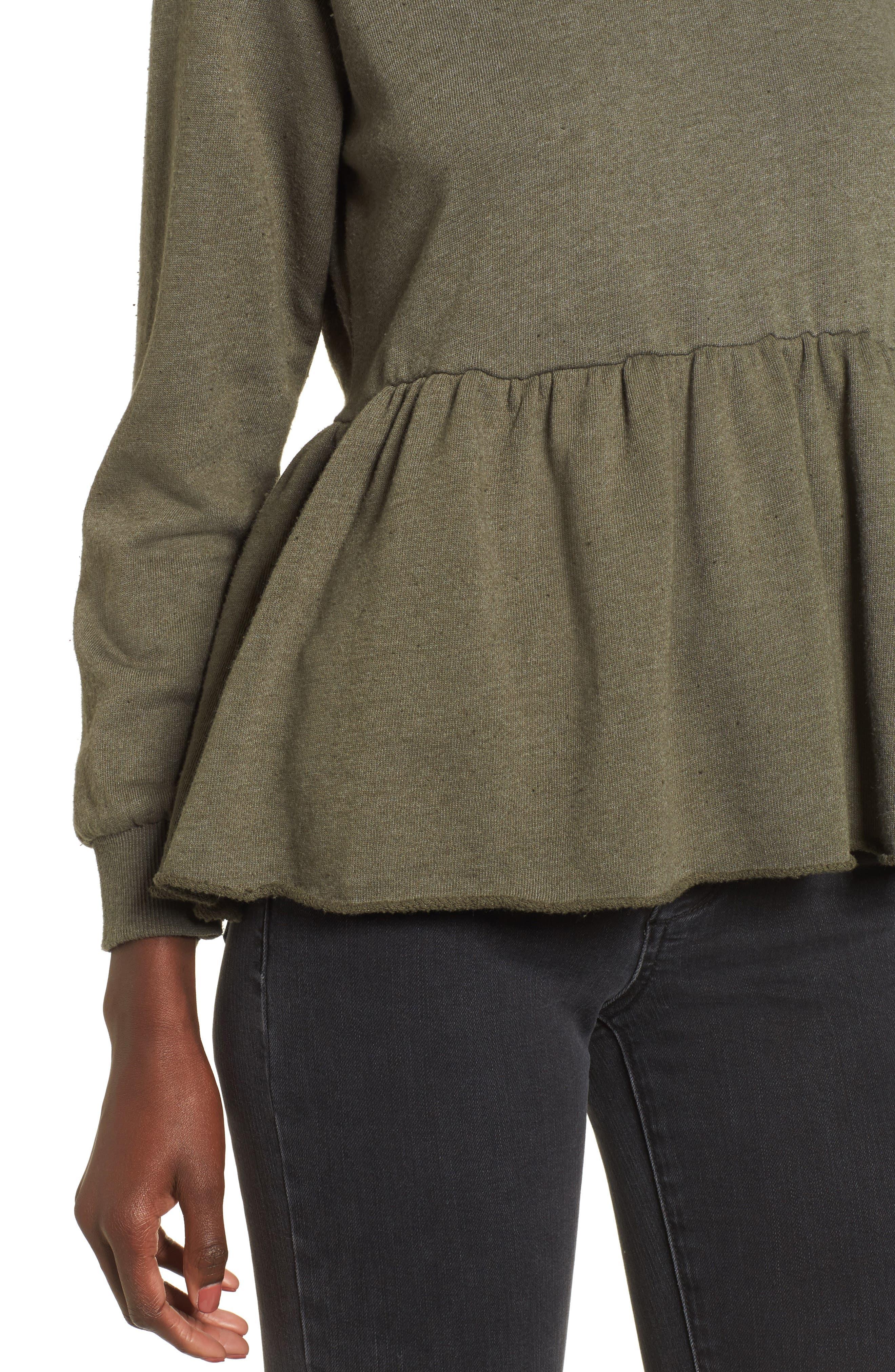 Viera Fleece Peplum Sweatshirt,                             Alternate thumbnail 8, color,