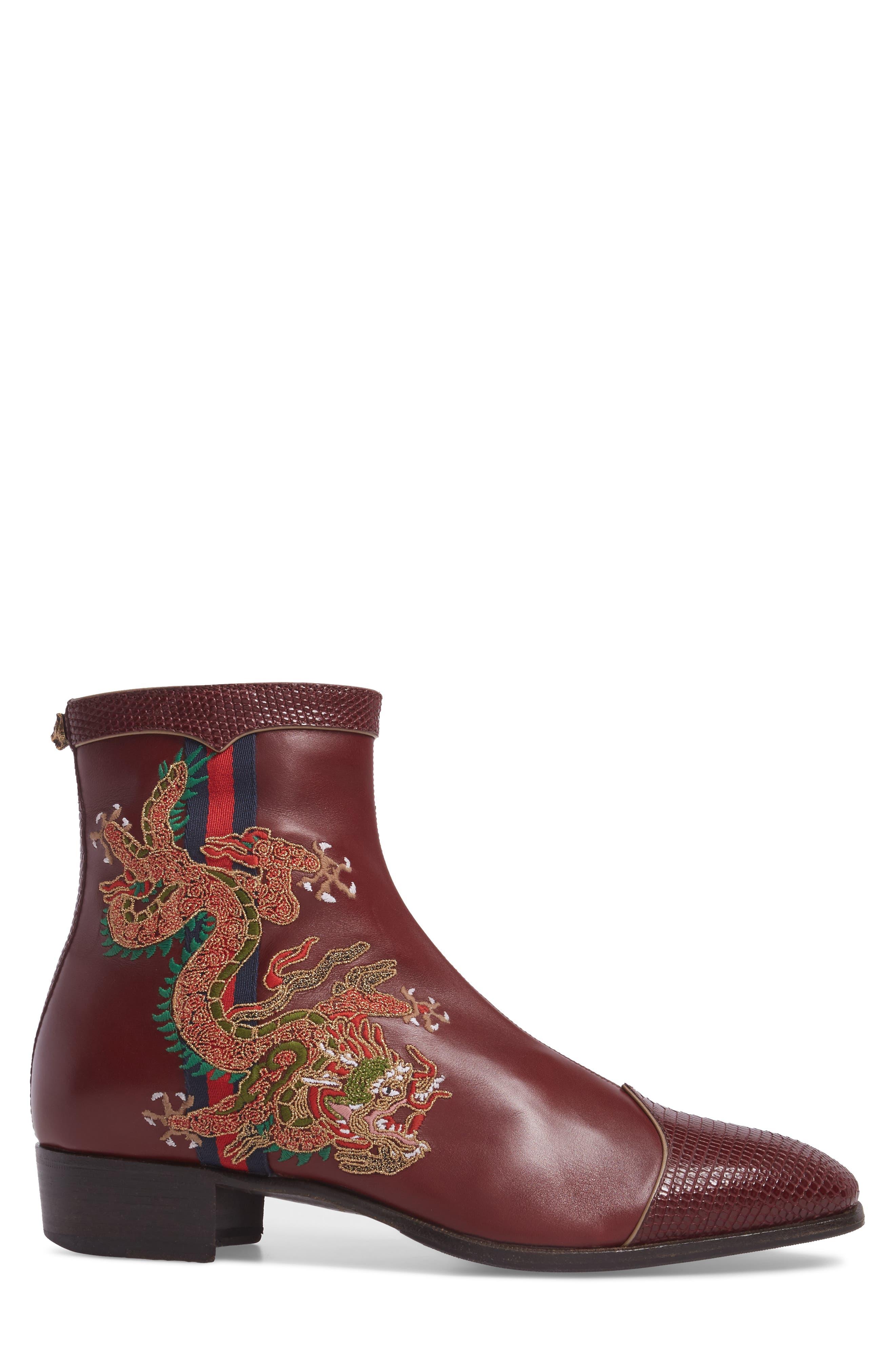 Dragon Leather Boot,                             Alternate thumbnail 3, color,                             BORDEAUX