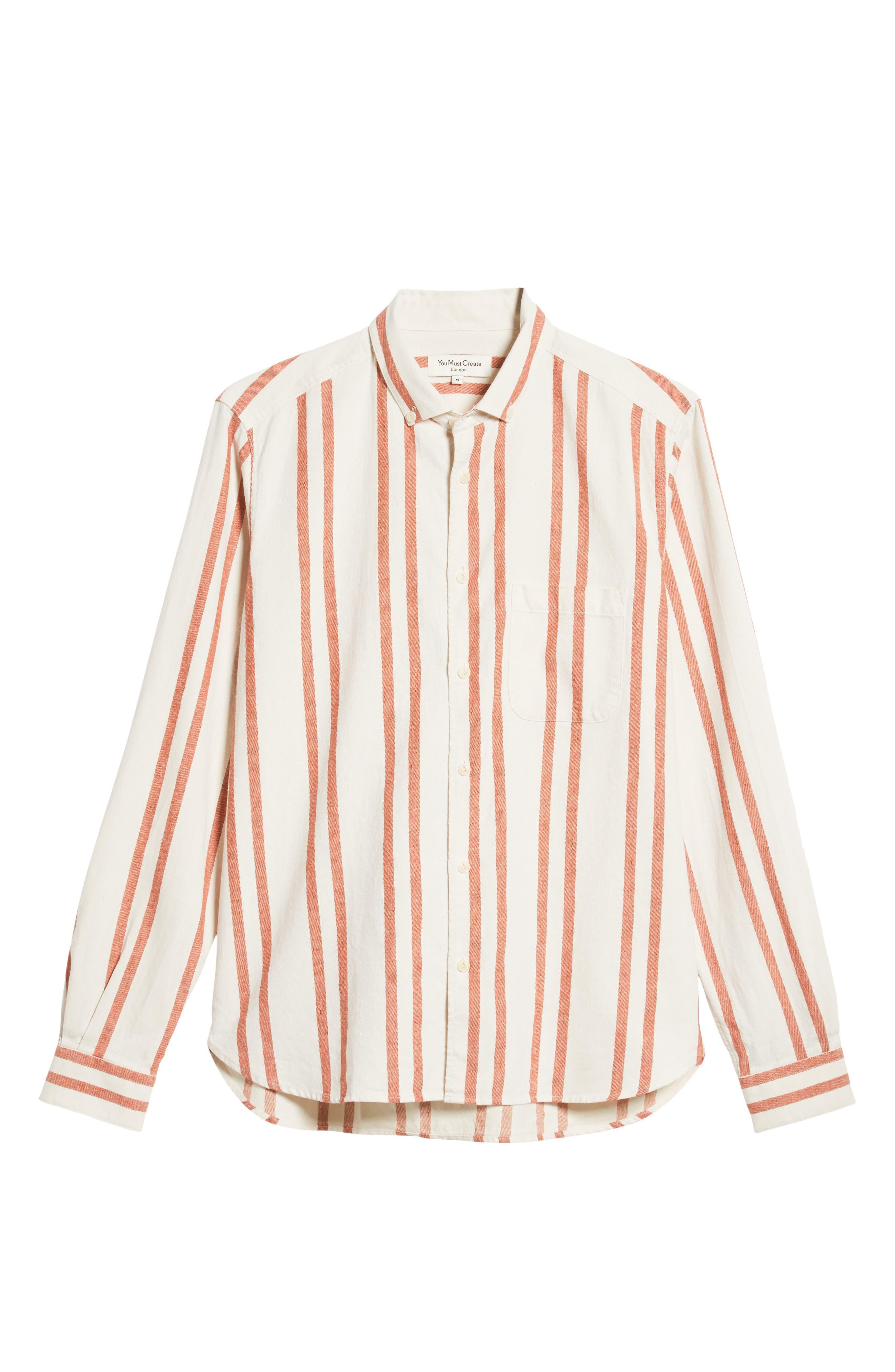 Dean Regular Fit Stripe Sport Shirt,                             Alternate thumbnail 6, color,                             ORANGE